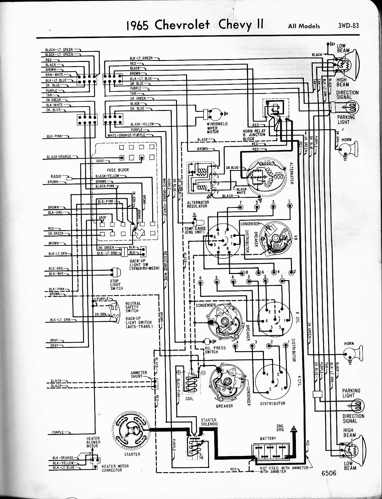 MWireChev65_3WD 083 57 65 chevy wiring diagrams 1965 C10 Wiring-Diagram at fashall.co