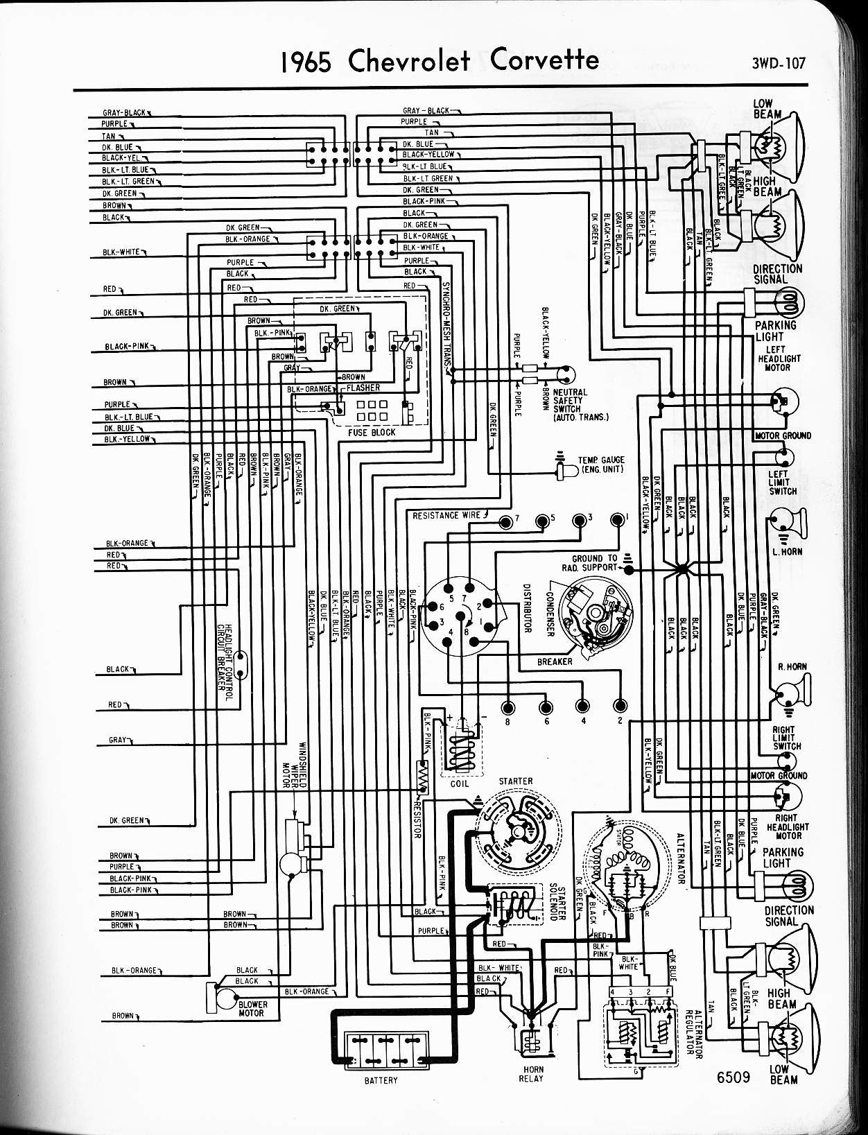 MWireChev65_3WD 107 57 65 chevy wiring diagrams 65 corvette wiring diagram at soozxer.org