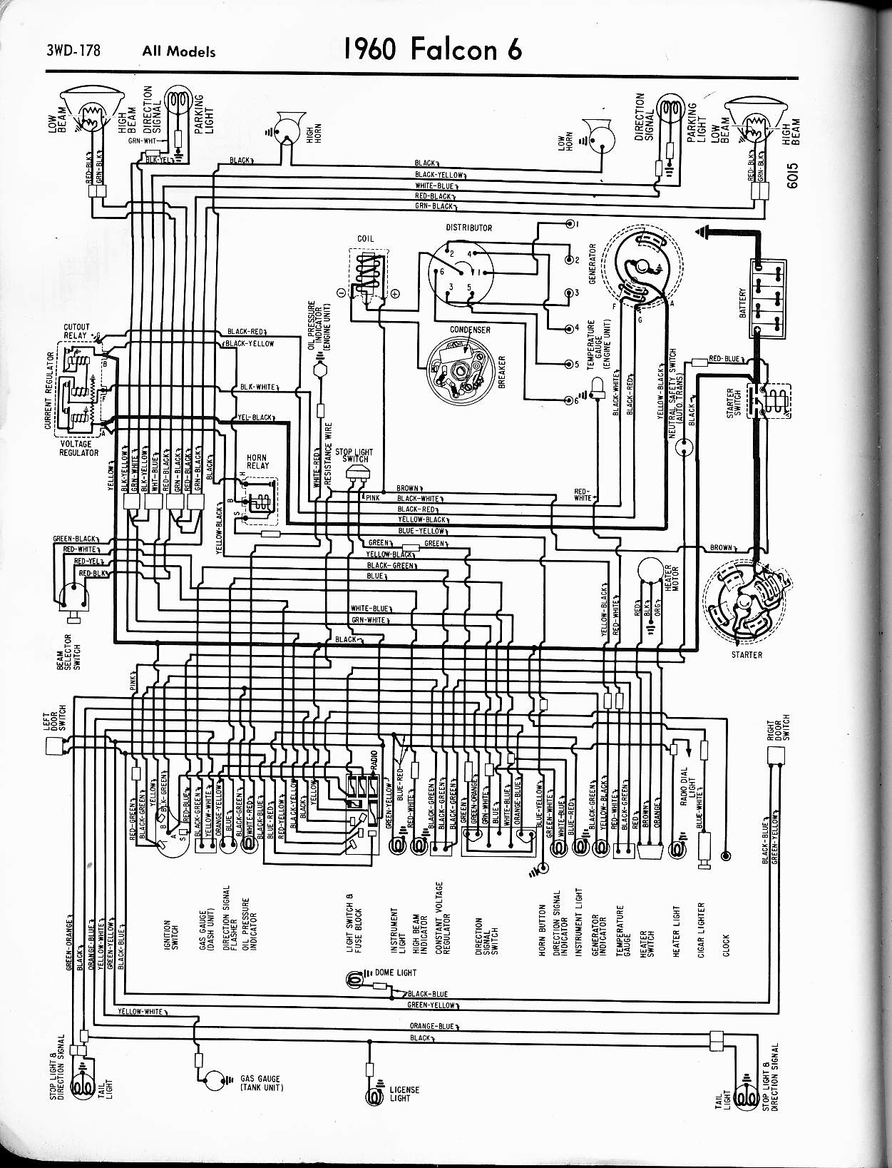 1960 Ford Thunderbird Wiring Diagram Library 1954 8n Schematic 6 Cyl Falcon 57 65 Diagrams