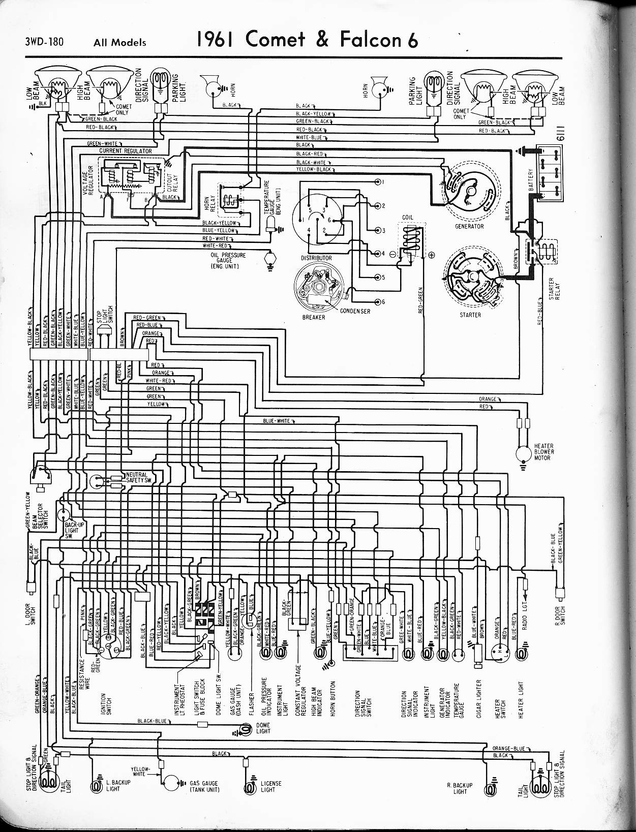 57 65 Ford Wiring Diagrams Atv Voltage Regulator Diagram 1961 6 Cyl Falcon