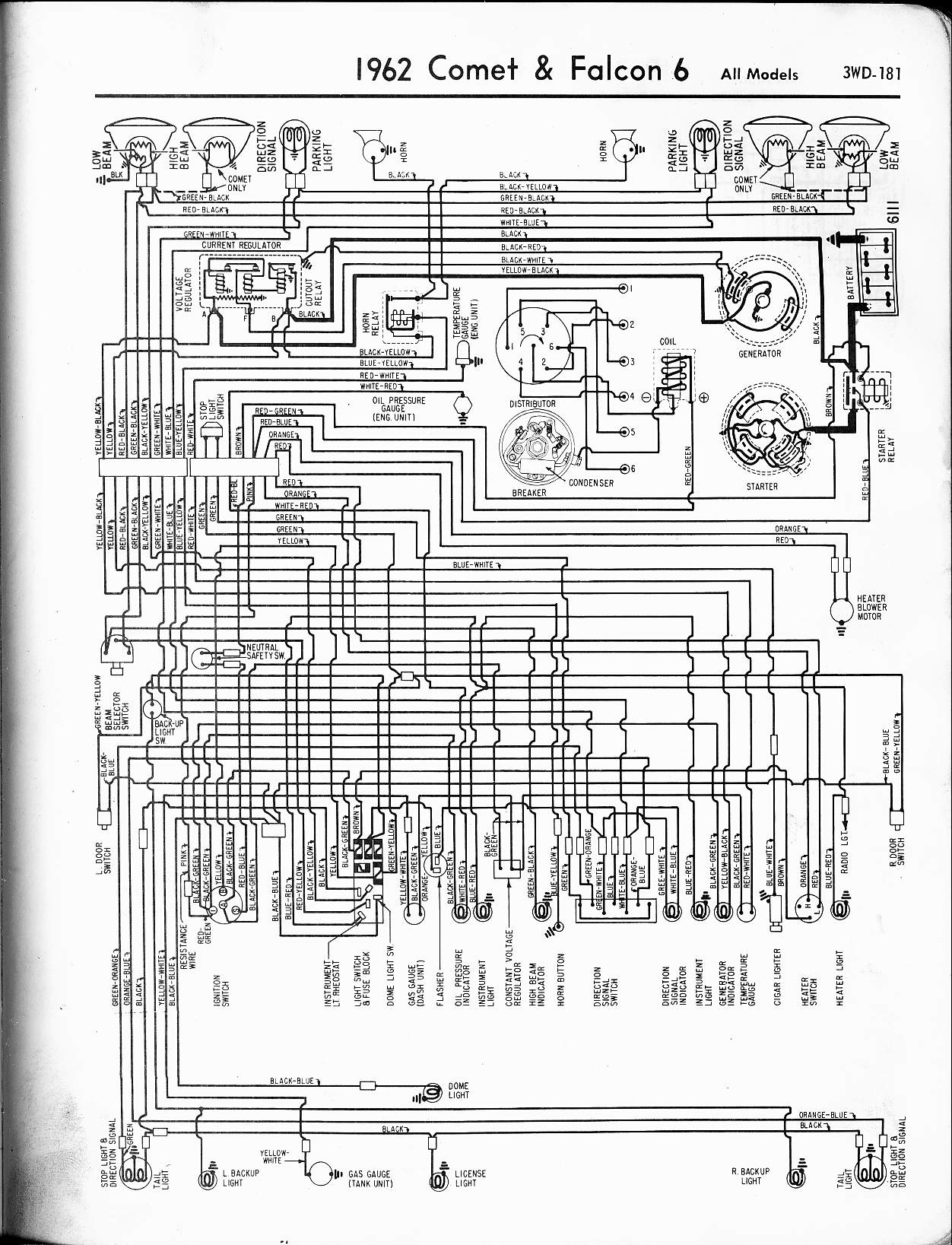 57 65 Ford Wiring Diagrams Radio Harness Adapter Diagram 1962 6 Cyl Falcon
