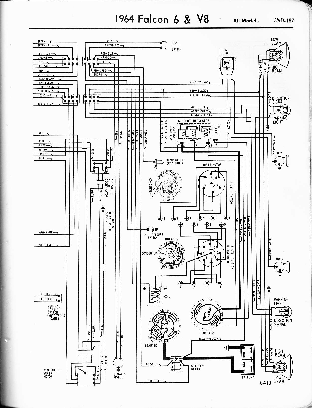 1964 falcon wiring diagram 1964 falcon wiring  diagram