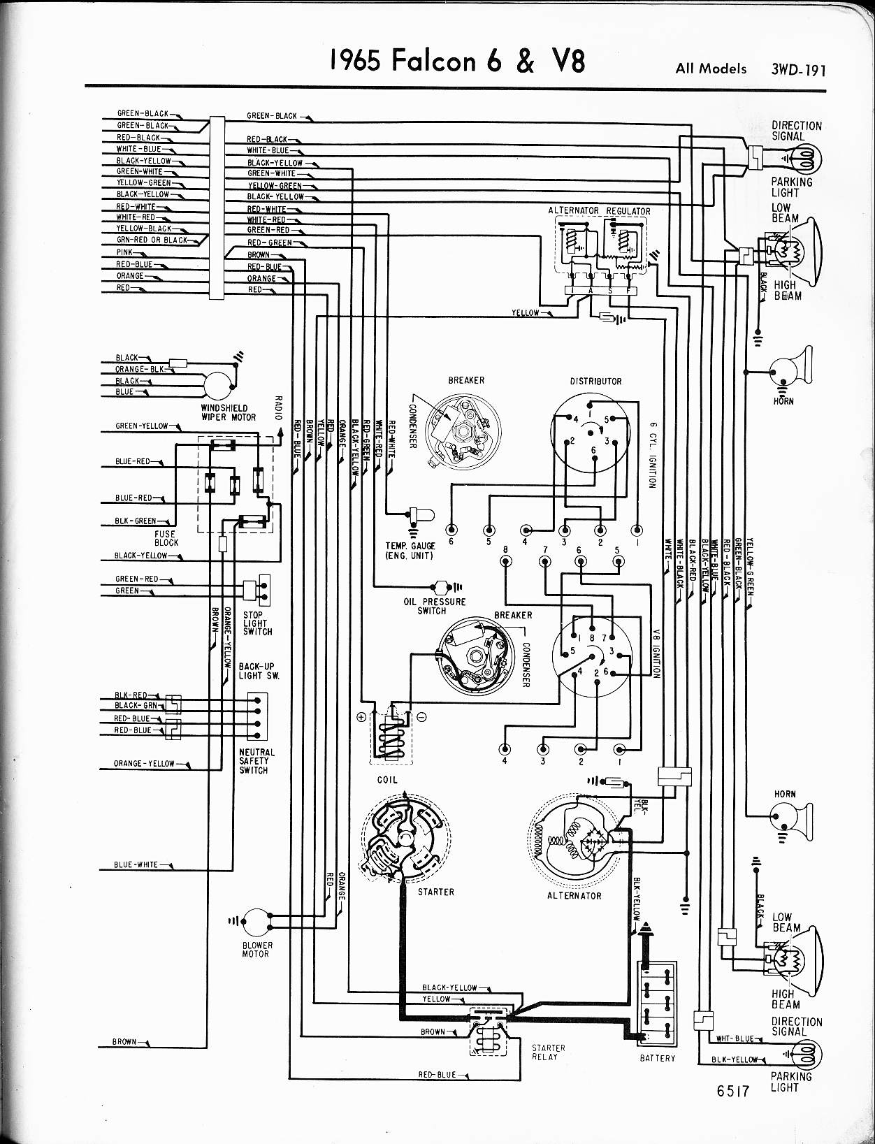 57 65 Ford Wiring Diagrams 1968 Mustang Backup Light Diagram 1965 6 V8 Falcon Right