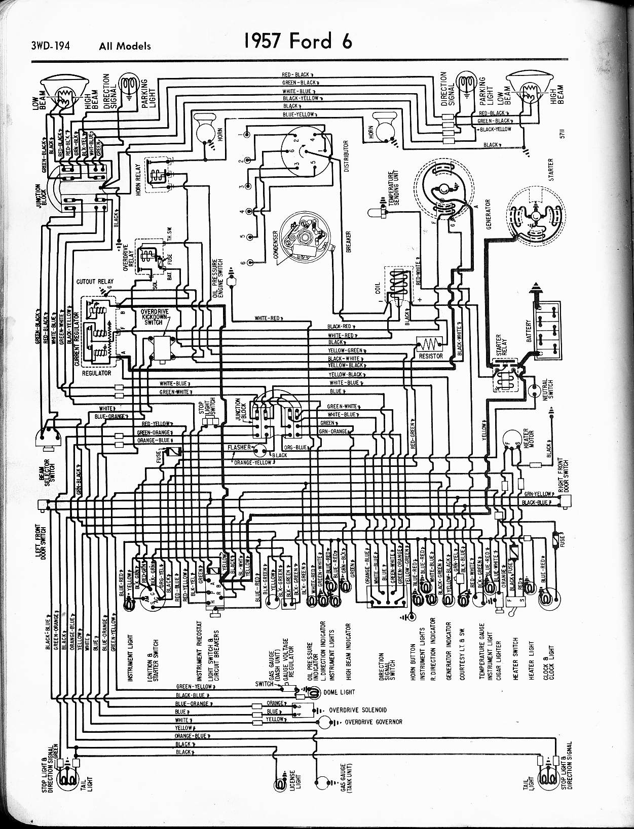 57 65 Ford Wiring Diagrams Crown Forklift Diagram 1957 6 Cyl All Models