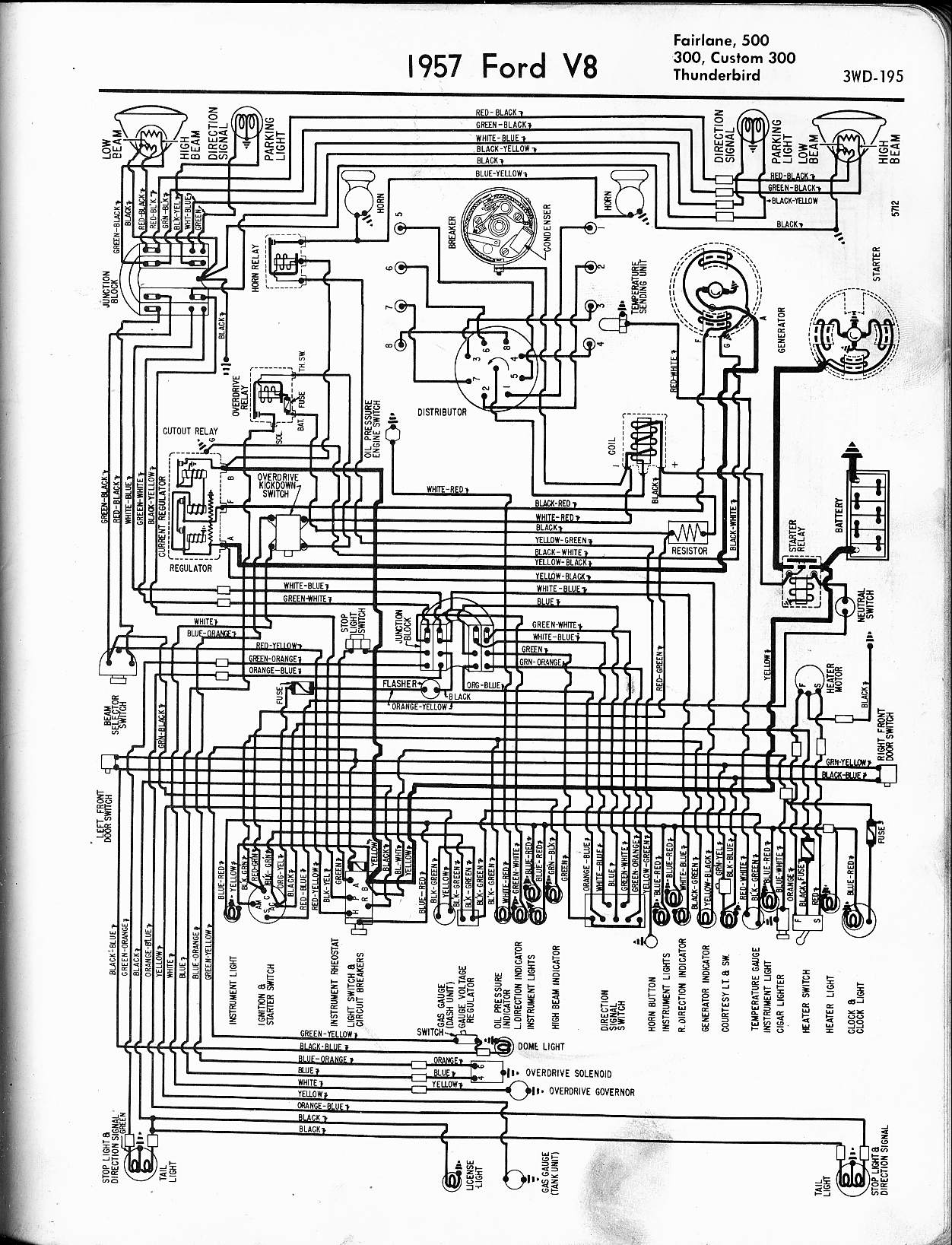 57 65 ford wiring diagrams 1957 v8 fairlane 500 300 custom 300