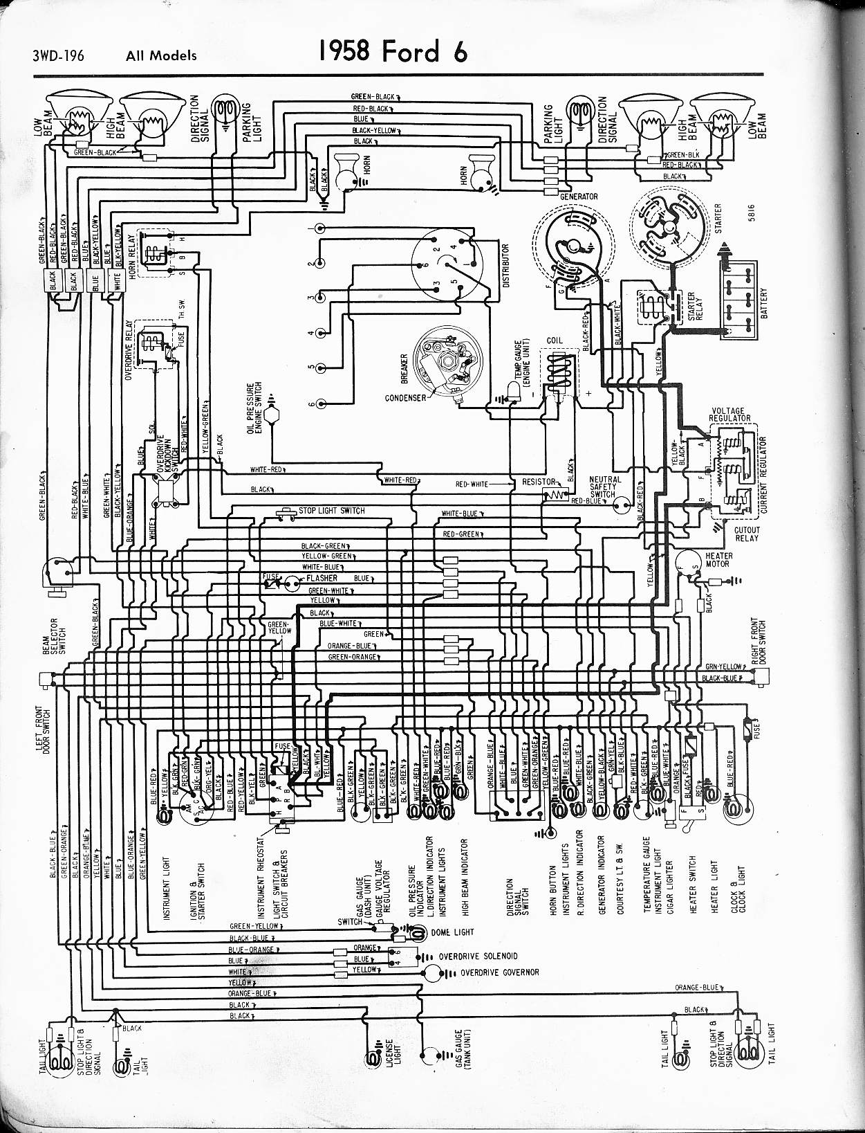 6 Wire Ford Truck Fuse Diagram Simple Wirings 2003 F 250 57 65 Wiring Diagrams And Relay 1958 Cyl All