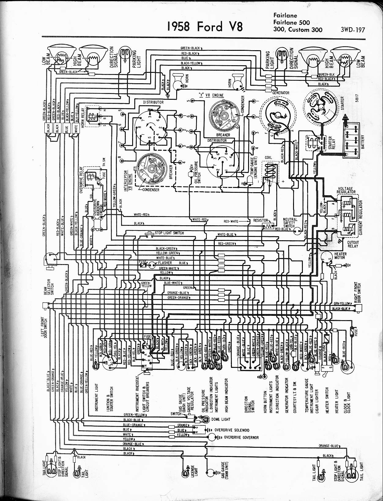 57 65 Ford Wiring Diagrams 1996 Subaru Schematic 1958 V8 Fairlane 500 300 Custom