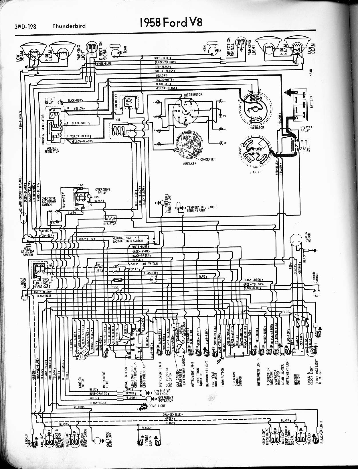 57 65 Ford Wiring Diagrams Light Switch With Schematic 1958 Thunderbird