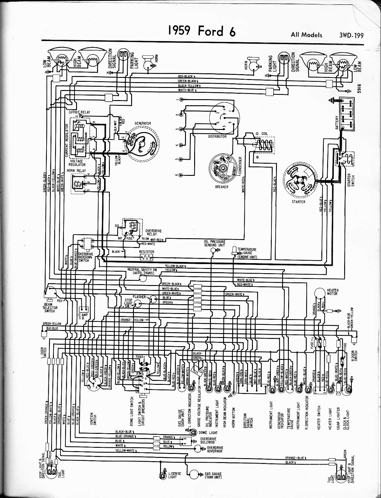 57 65 Ford Wiring Diagrams Ez Wire Power Window Diagram 1959 6 Cyl All Models