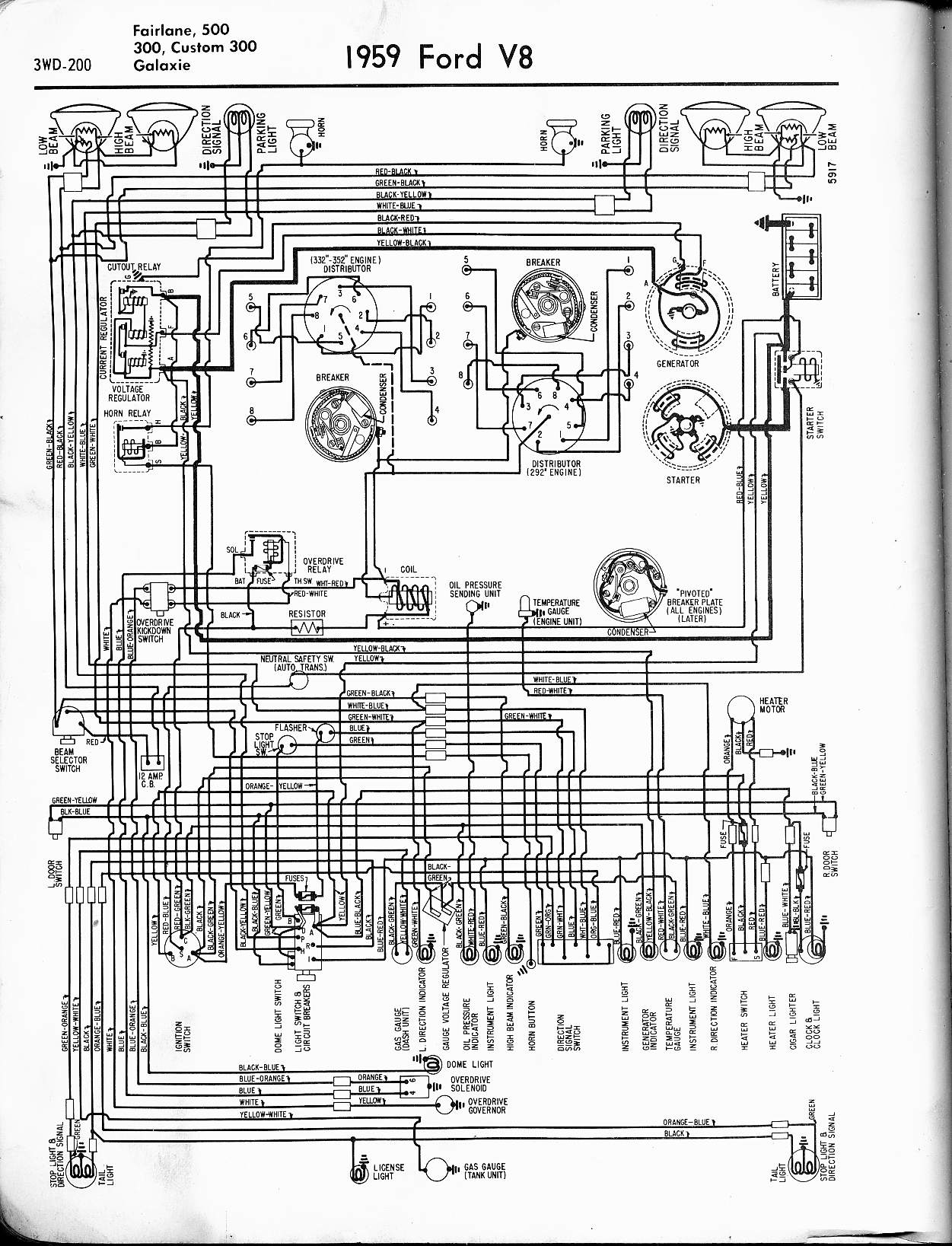 57 65 Ford Wiring Diagrams Automobile 1959 V8 Fairlane 500 300 Custom