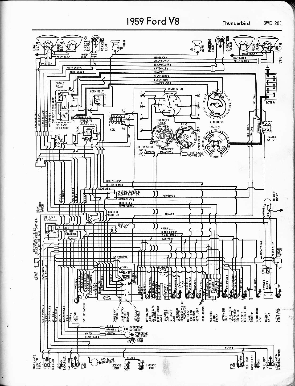 57 65 Ford Wiring Diagrams 555 Fuse Box 1959 Thunderbird