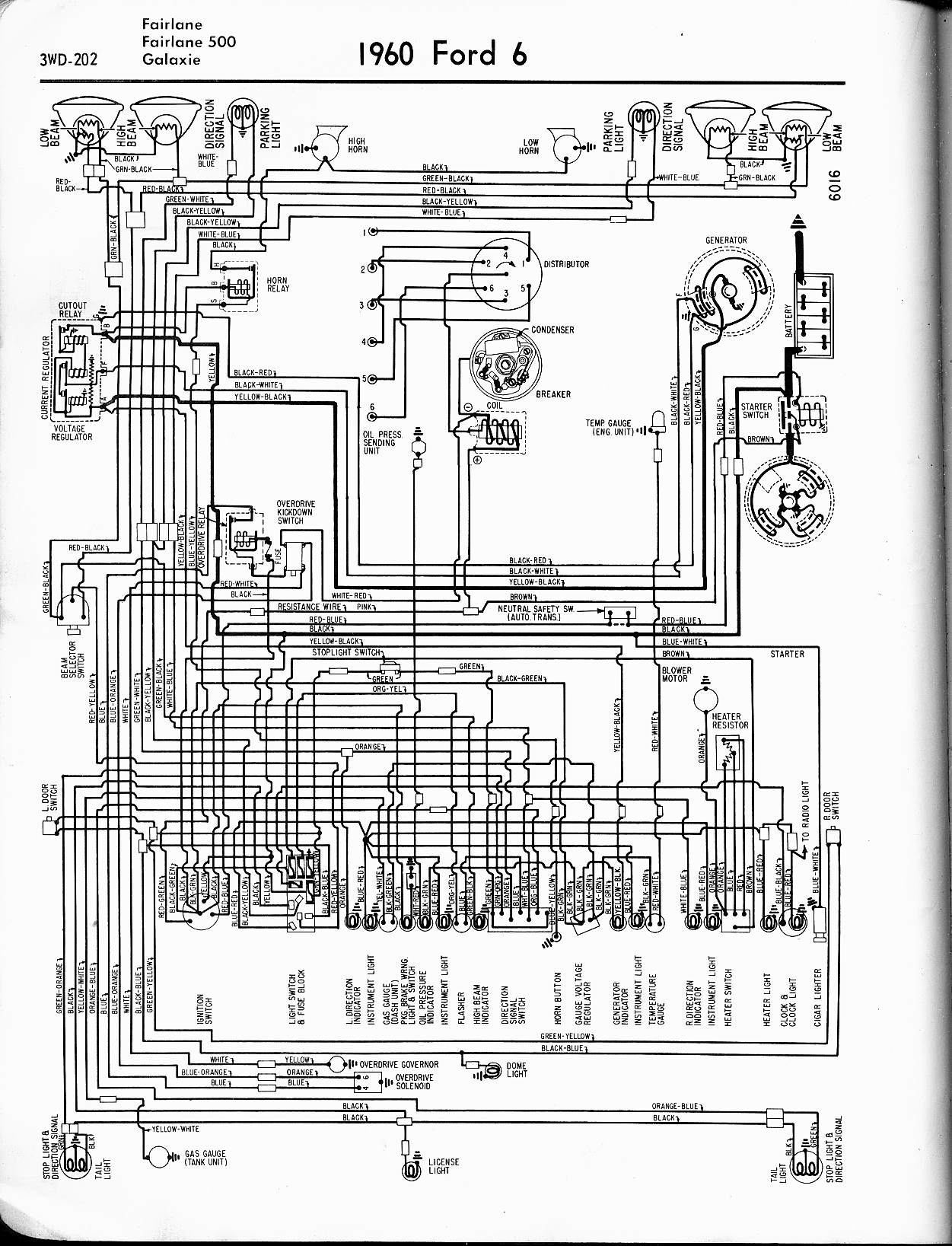 57 65 Ford Wiring Diagrams Automotive 4 1960 6 Cyl Fairlane 500 Galaxie