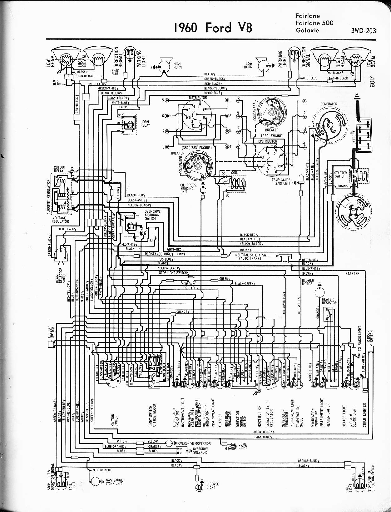 57 65 ford wiring diagrams  1960 v8 fairlane, 500, galaxie