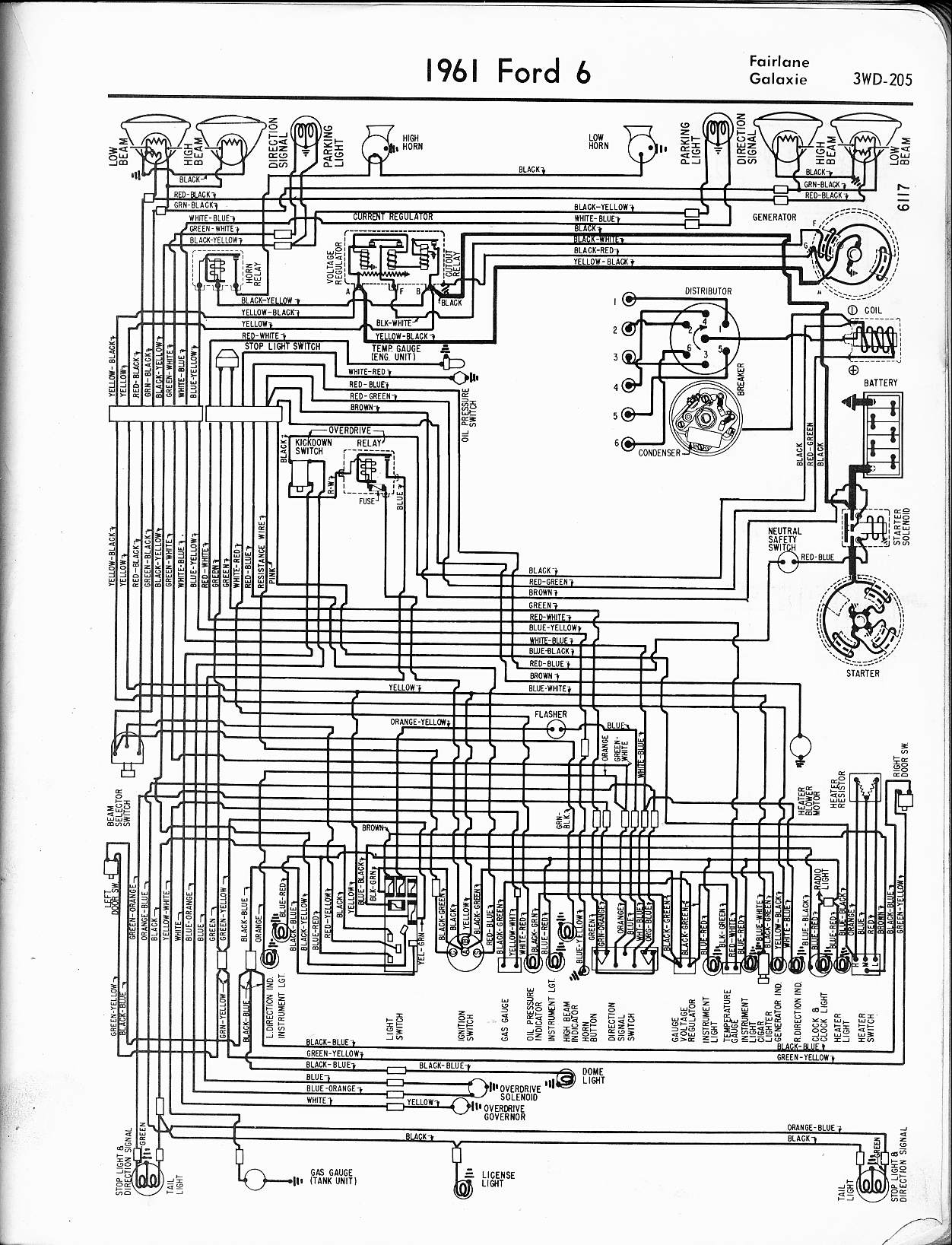 57 65 ford wiring diagrams1961 6 cyl fairlane, galaxie