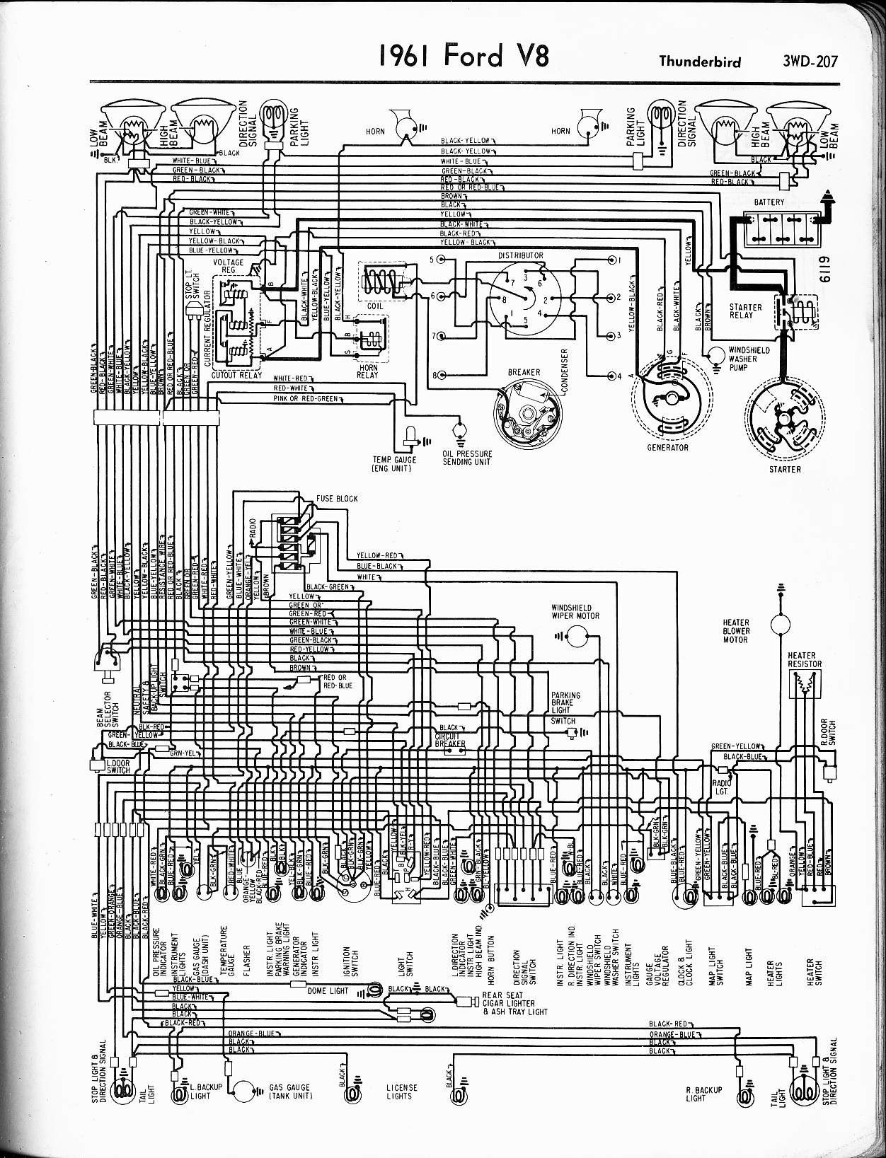 1955 T Bird Wiring Diagram Data Electrical For 1960 Chevrolet Corvair All Models 1965 Ford