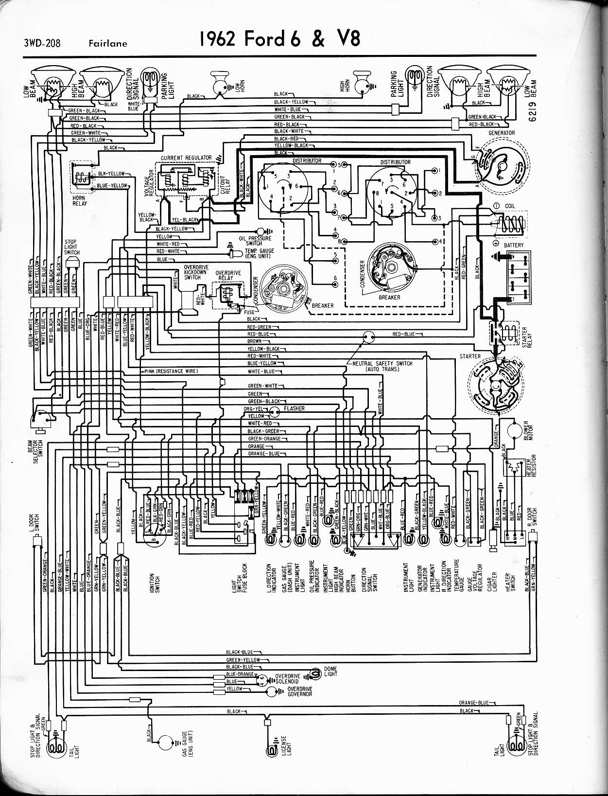 57 65 ford wiring diagrams 1962 Ford Truck Wiring Diagram 1962 6 \u0026 v8 fairlane