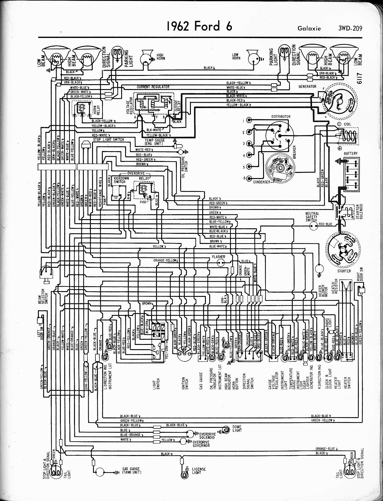 57 65 Ford Wiring Diagrams Electrical 2005 1962 6 Cyl Galaxie