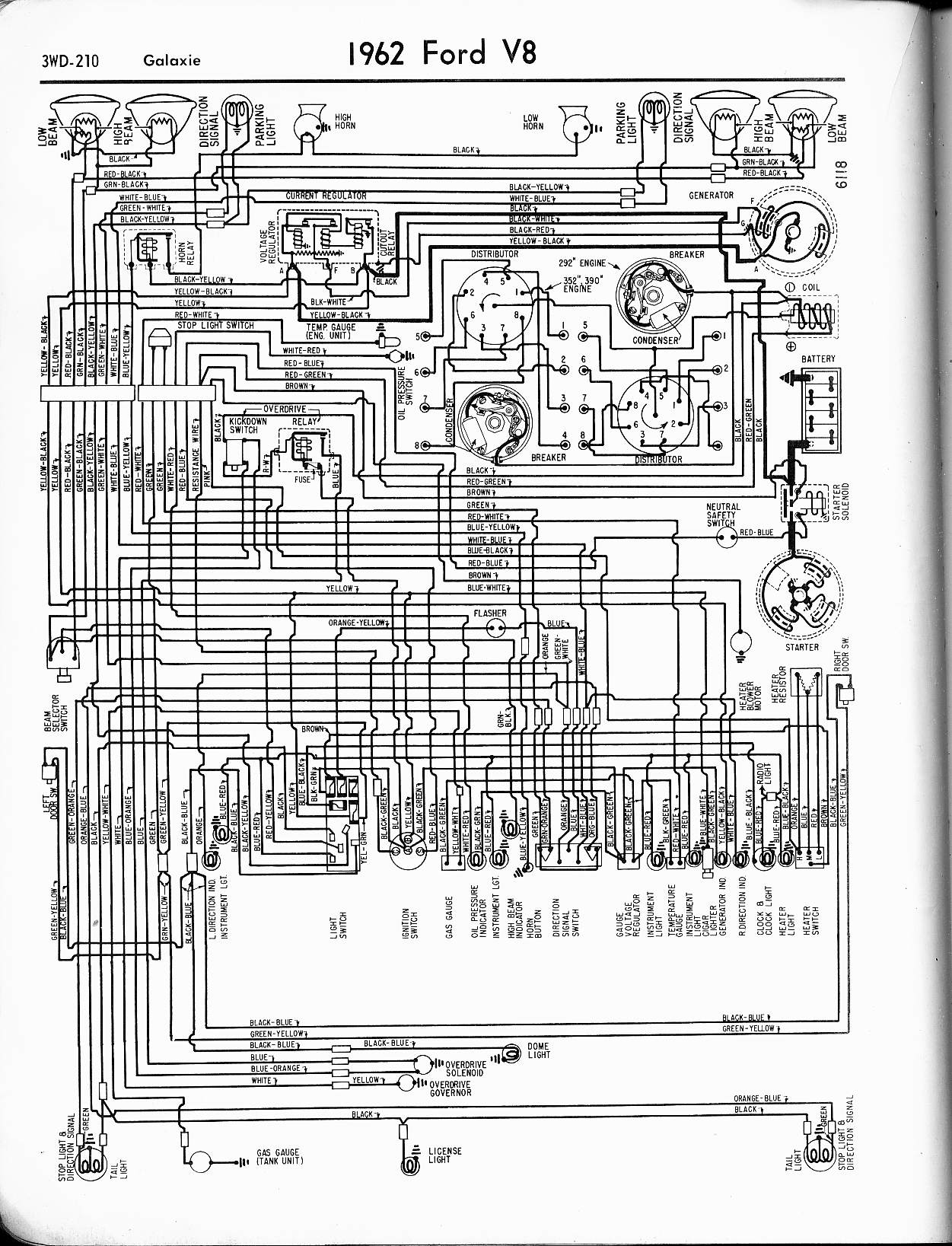 57 65 Ford Wiring Diagrams 1997 Pickup F150 Power Window Diagram And Electric Circuit 1962 Thunderbird