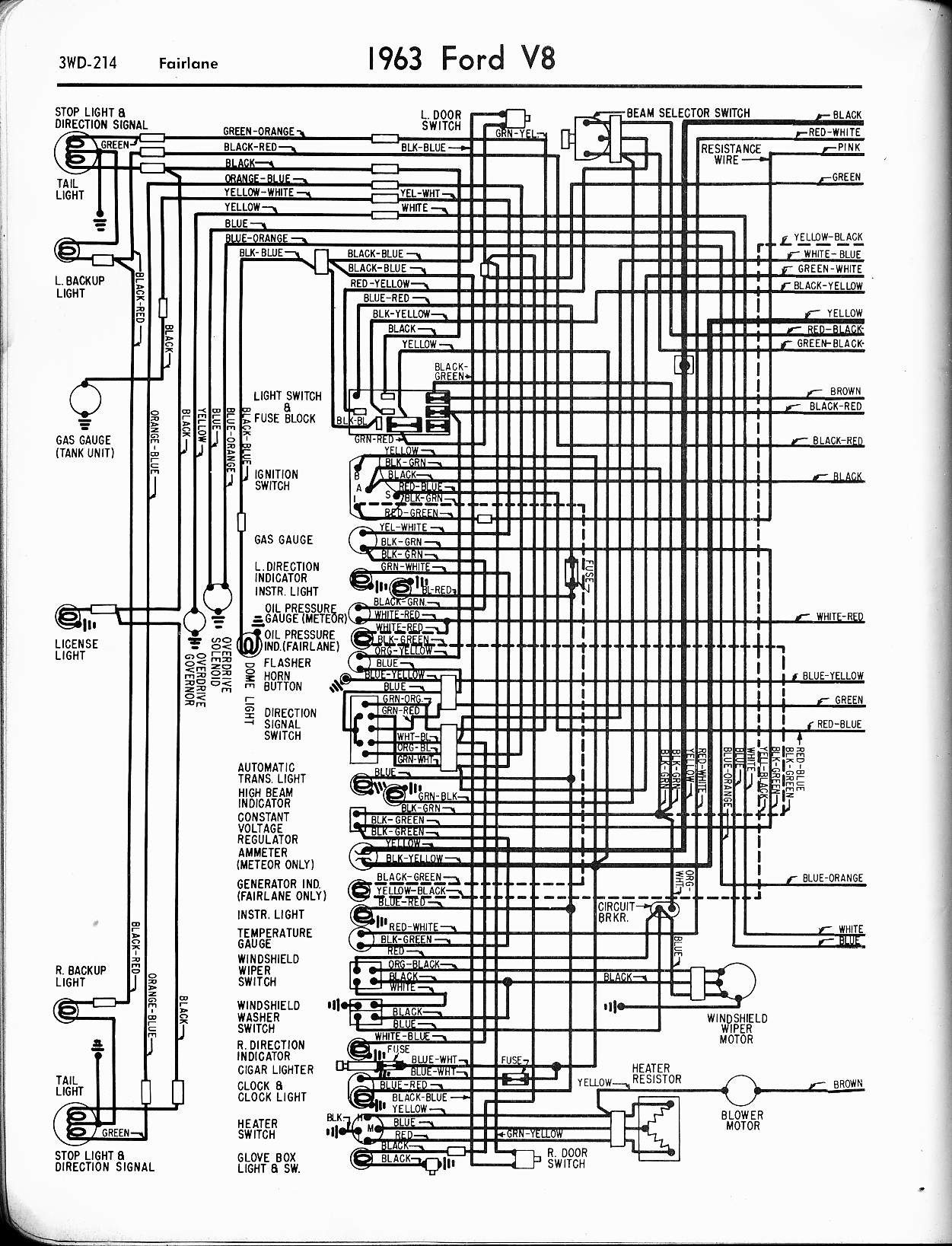 57 65 Ford Wiring Diagrams 2008 Focus Engine Diagram 1963 V8 Fairlane Left