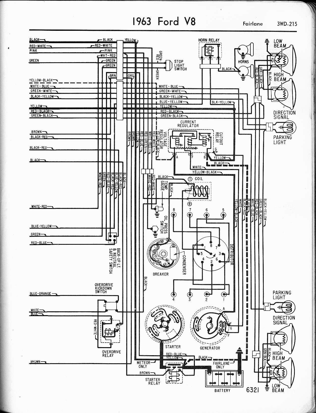 57 65 Ford Wiring Diagrams 1974 Jeep Cj5 Diagram External Regulator 1963 V8 Fairlane Right