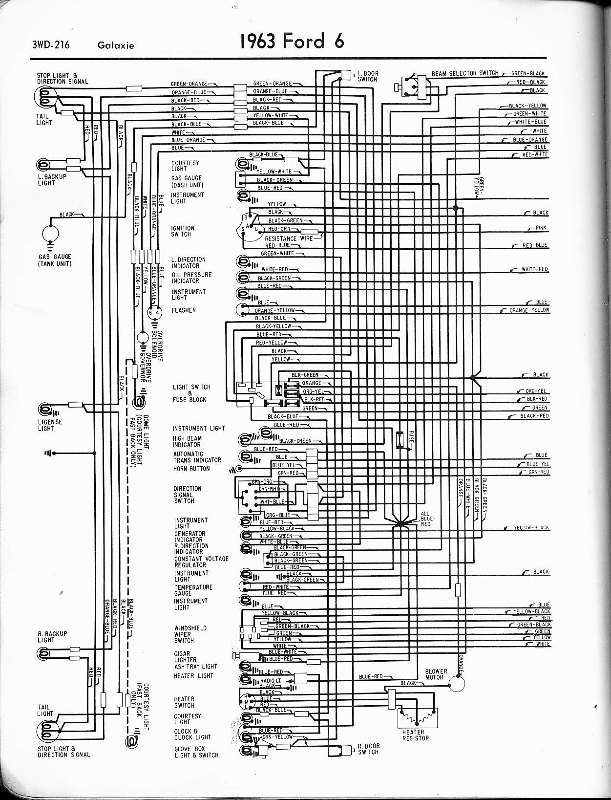 57 65 ford wiring diagrams 1963 6 cyl galaxie left