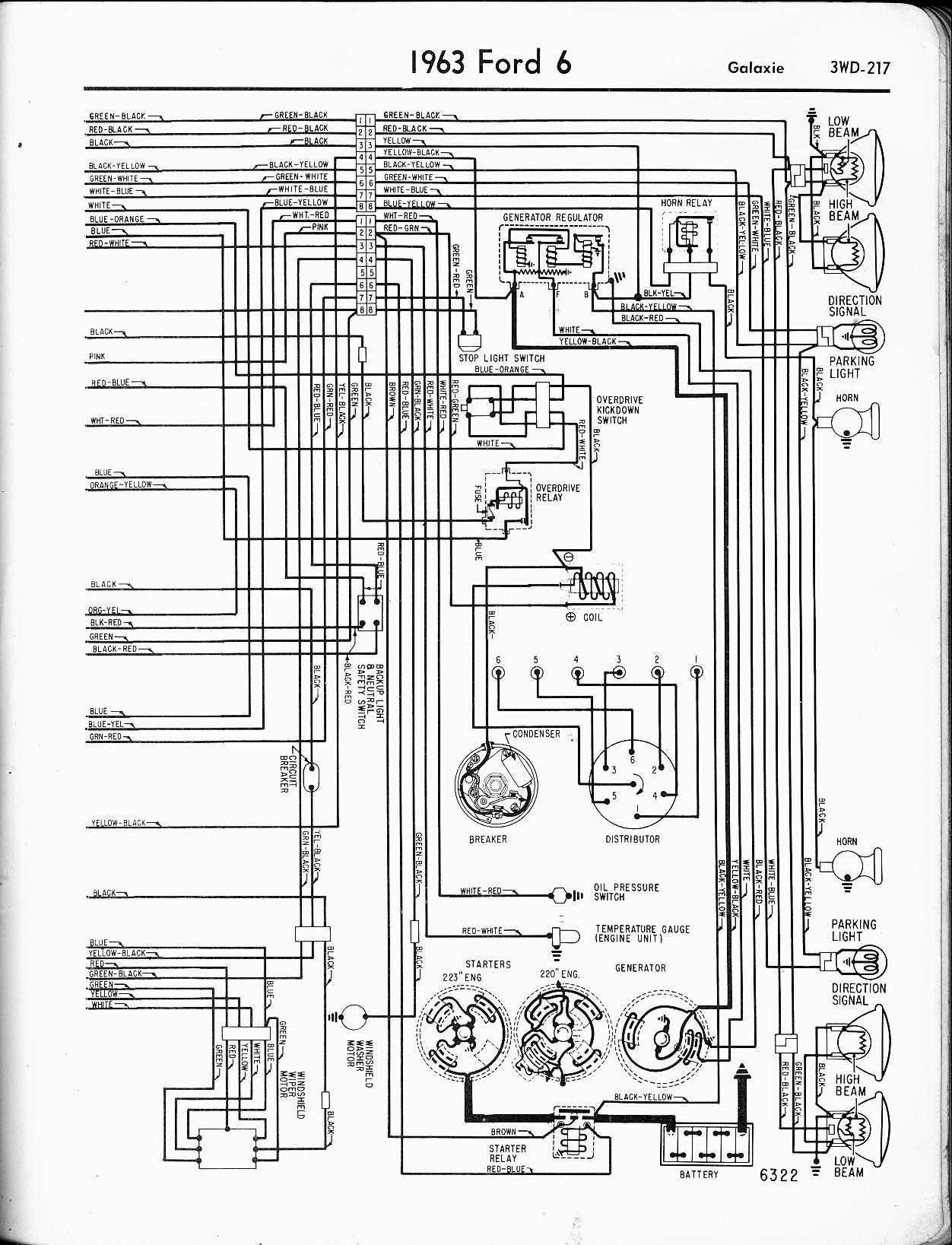 57 65 Ford Wiring Diagrams 1996 Transmission Diagram Schematic 1963 6 Cyl Galaxie Right