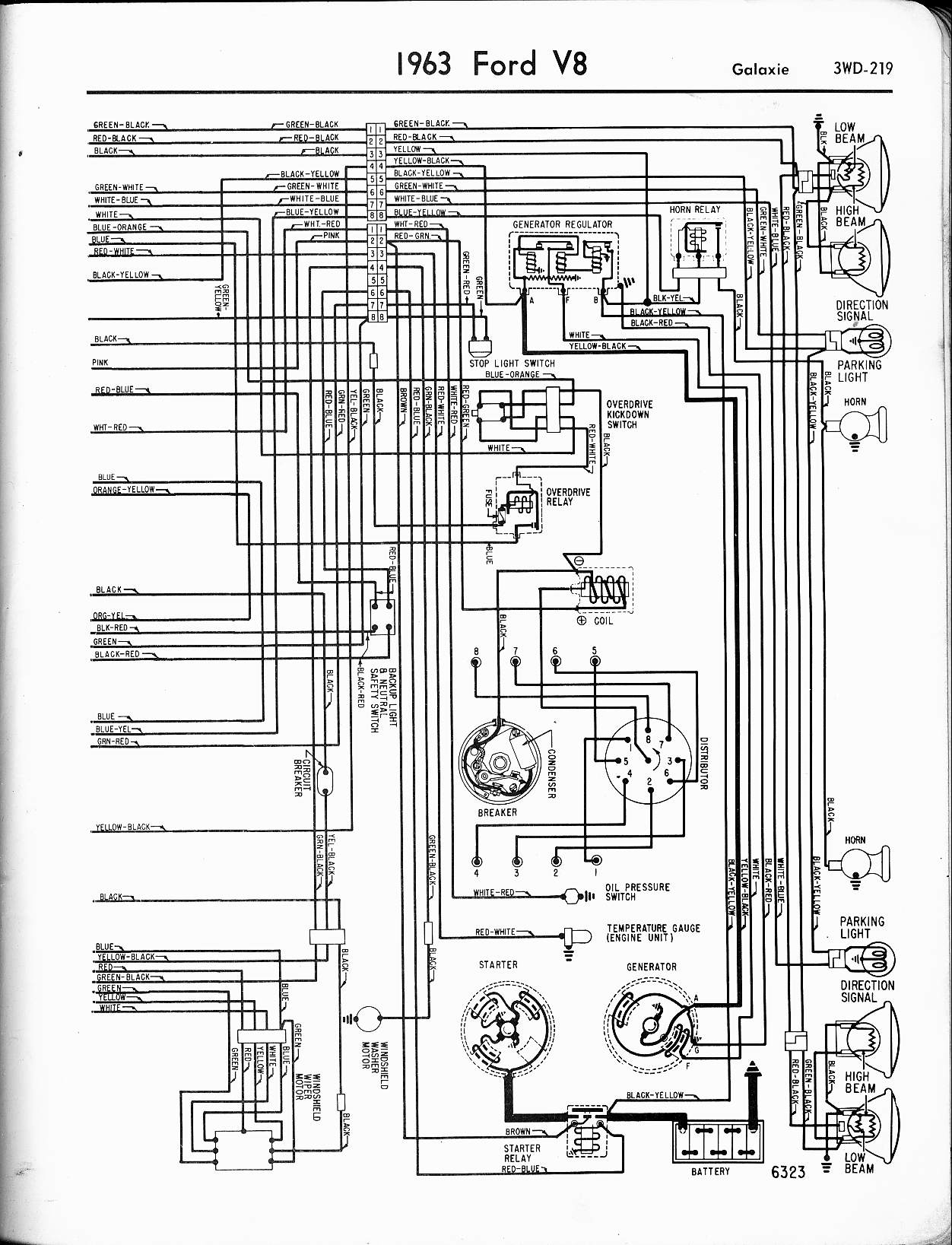 57 65 Ford Wiring Diagrams Lincoln 225 S Diagram 1963 V8 Galaxie Right
