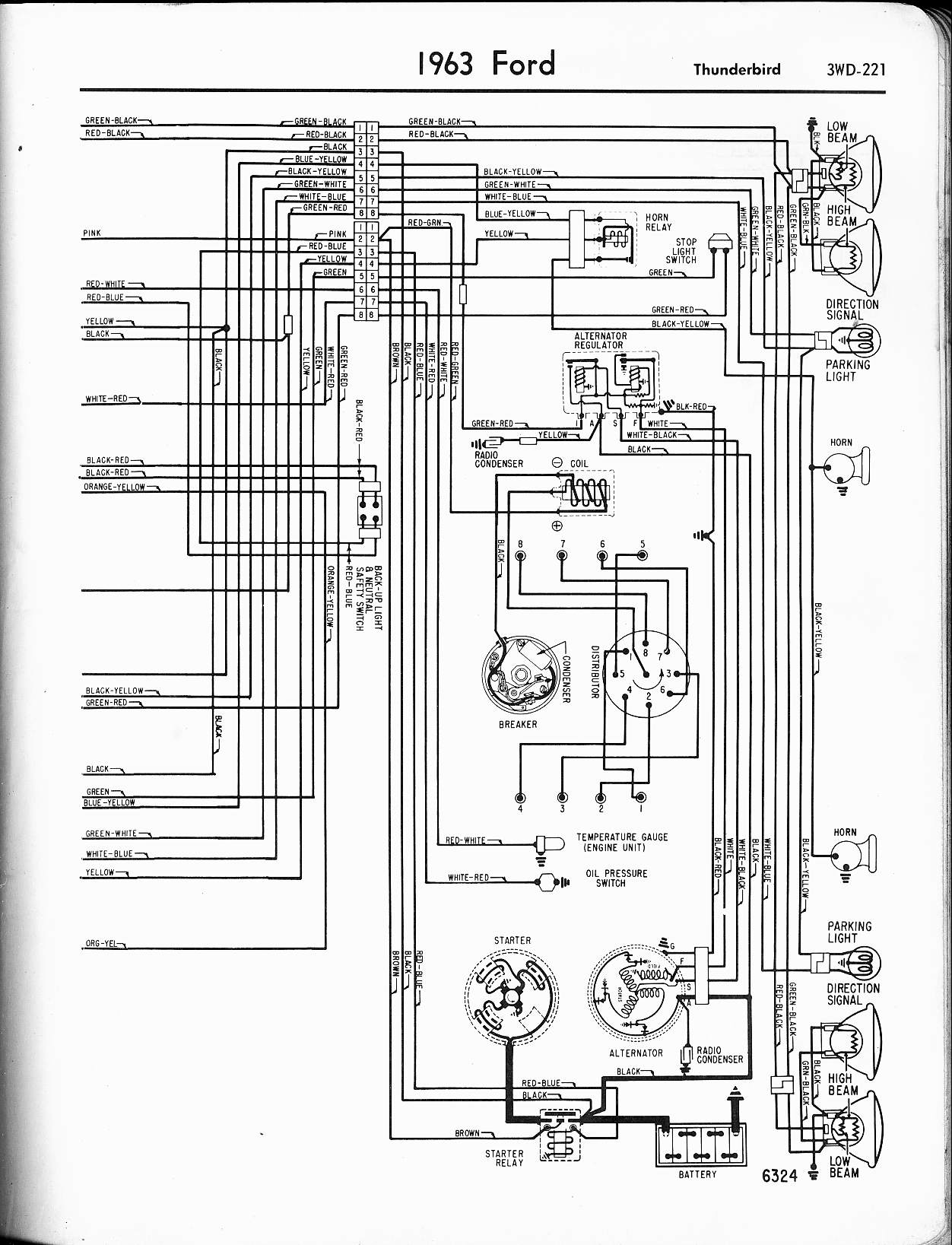 57 65 ford wiring diagrams 1964 6 v8 falcon left