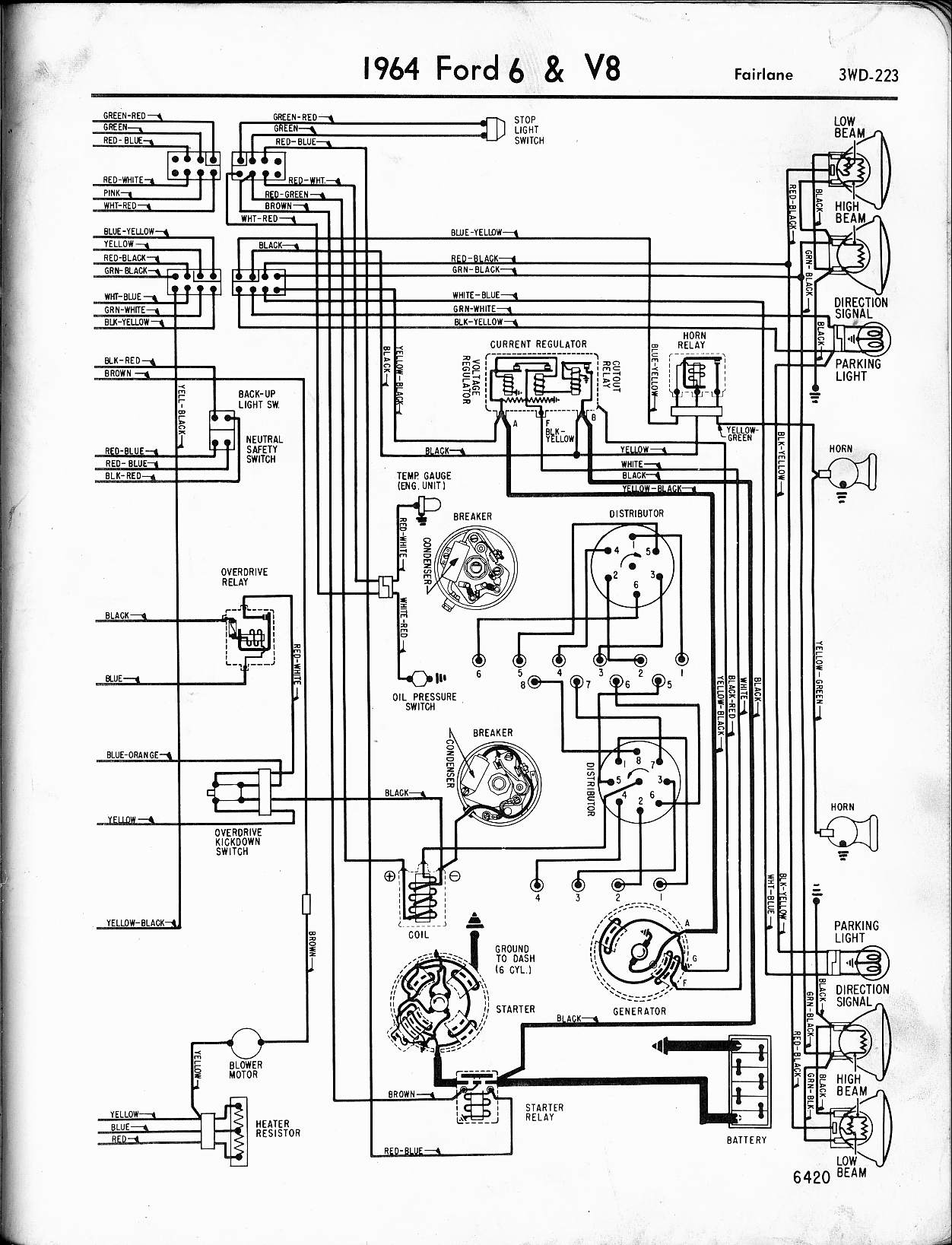 57 65 ford wiring diagrams 1964 6 v8 galaxie left