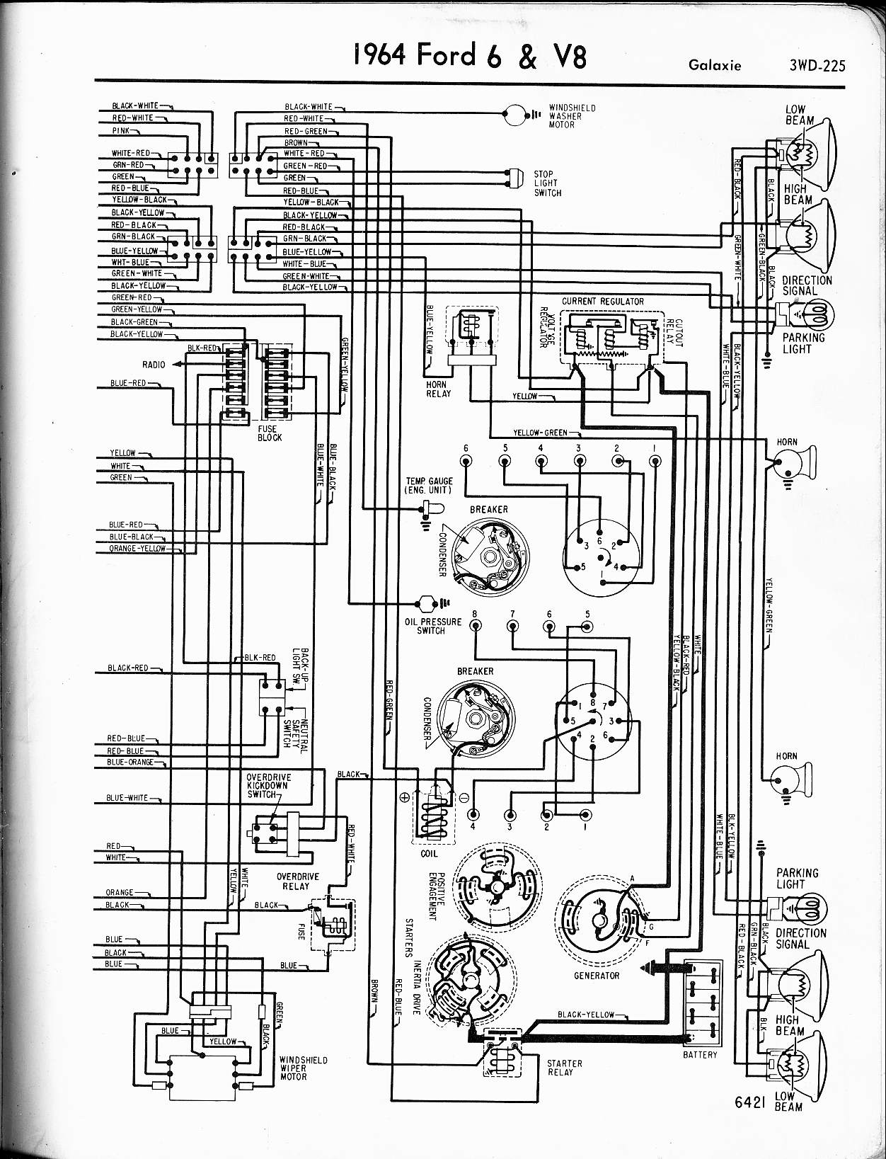 57 65 Ford Wiring Diagrams Club Car Manual Wire 1964 6 V8 Galaxie Right