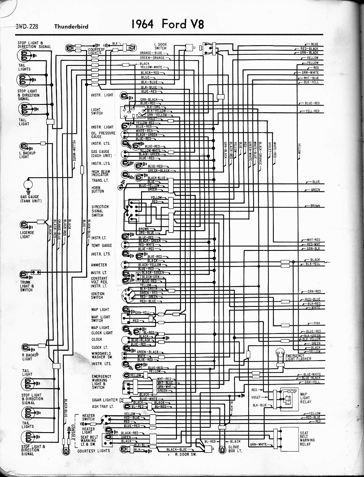 57 65 Ford Wiring Diagrams 1956 Mainline Diagram 1964 Thunderbird Left