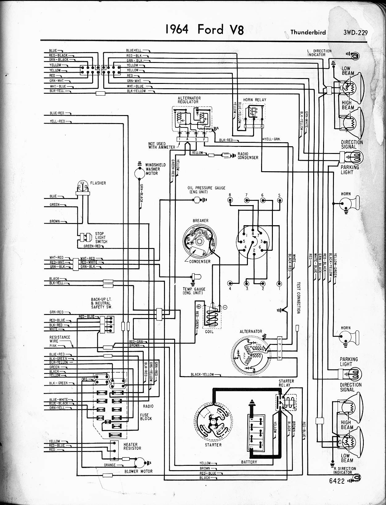 57 65 ford wiring diagrams rh oldcarmanualproject com 1988 ford thunderbird wiring diagram wiring diagram for 1964 ford thunderbird