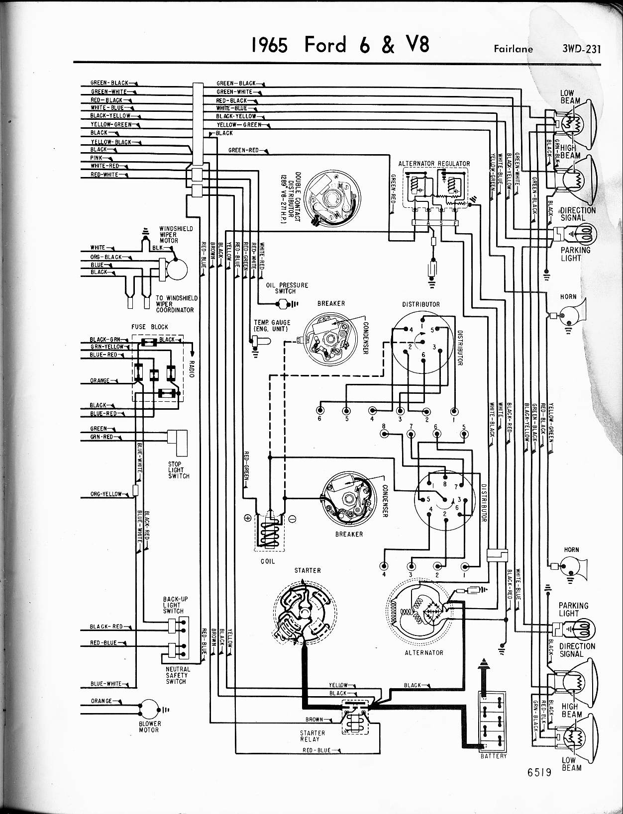 57 65 Ford Wiring Diagrams Light Schematics 1965 6 V8 Fairlane Right