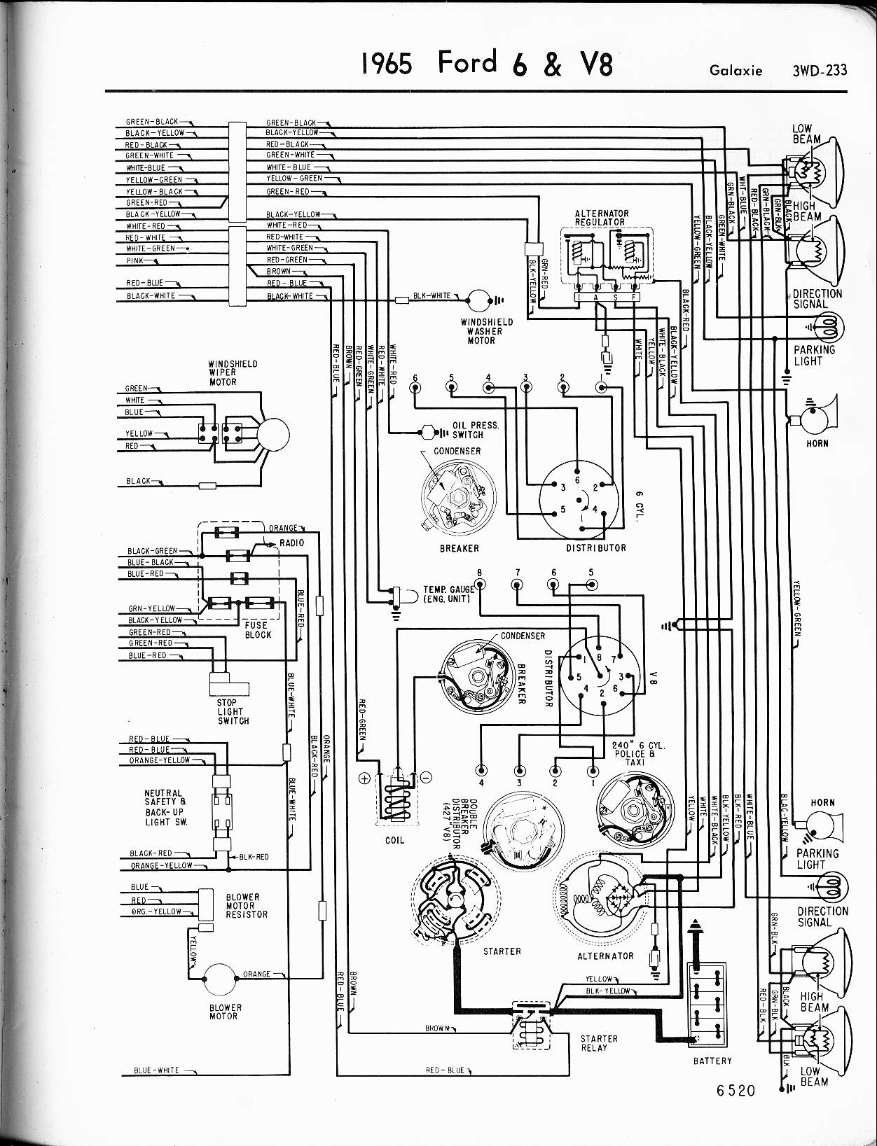 ford factory wiring diagrams 57 65 ford wiring diagrams 1965 6 v8 galaxie right
