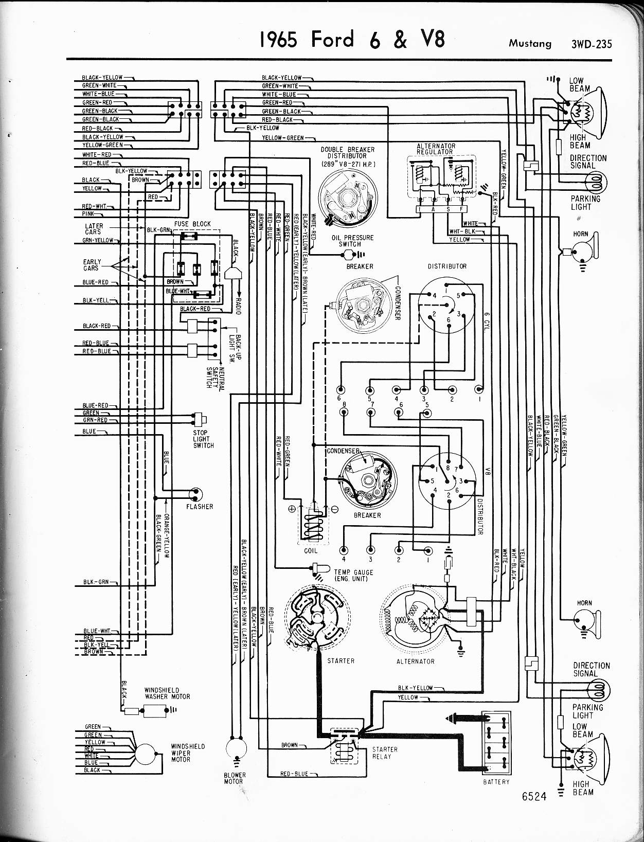 57 65 Ford Wiring Diagrams Kazuma 90cc Diagram 1965 6 V8 Mustang Right