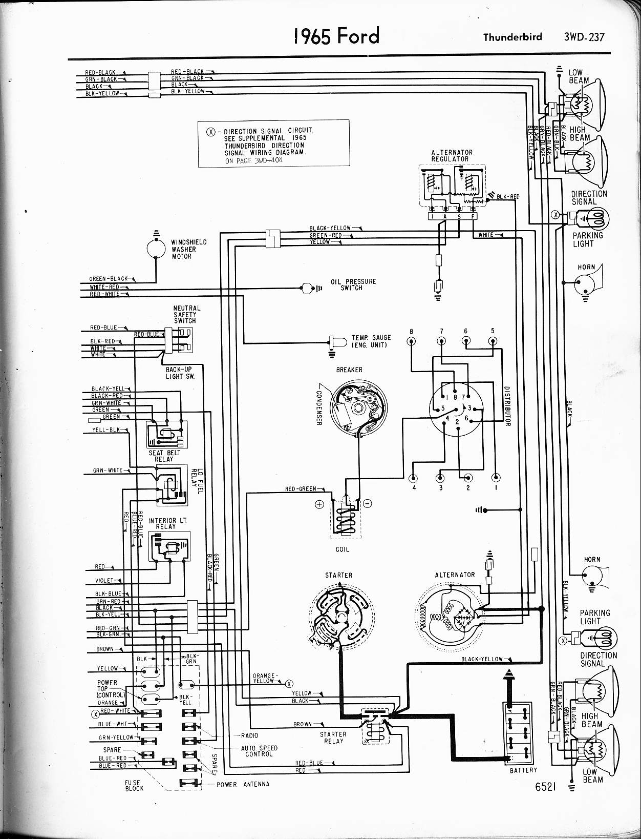 57 65 ford wiring diagrams rh oldcarmanualproject com 1955 T-Bird 1964 T-Bird Interior