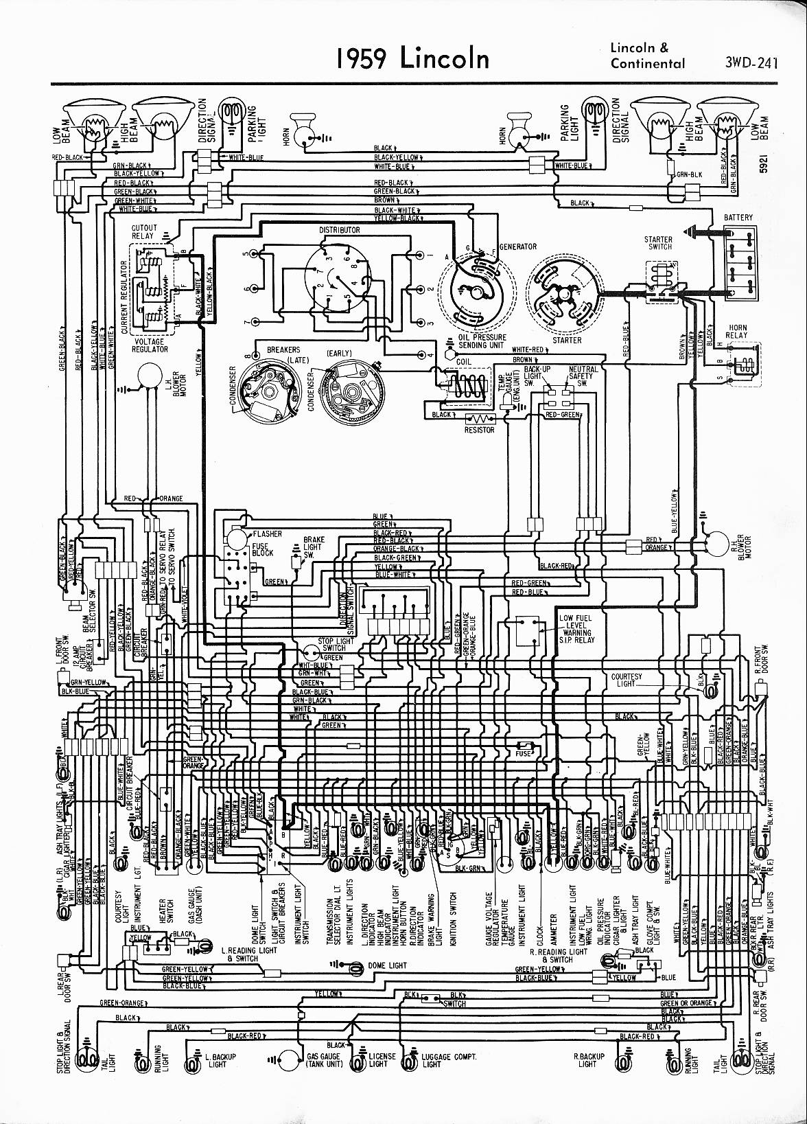MWireLin_Lin57_z3wd 241z_004 lincoln wiring diagrams 1957 1965 1998 Lincoln Town Car Wiring Diagram at eliteediting.co
