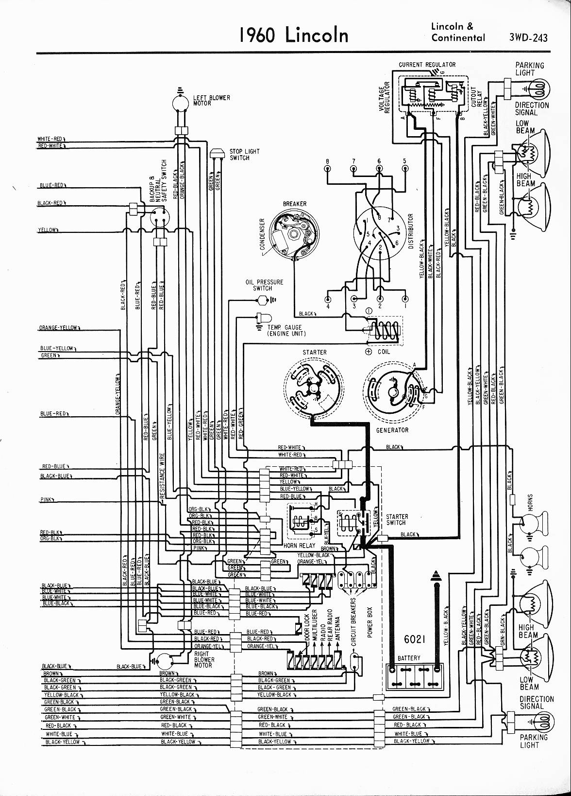 MWireLin_Lin57_z3wd 243z_006 lincoln wiring diagrams 1957 1965 1995 lincoln continental fuse box diagram at fashall.co