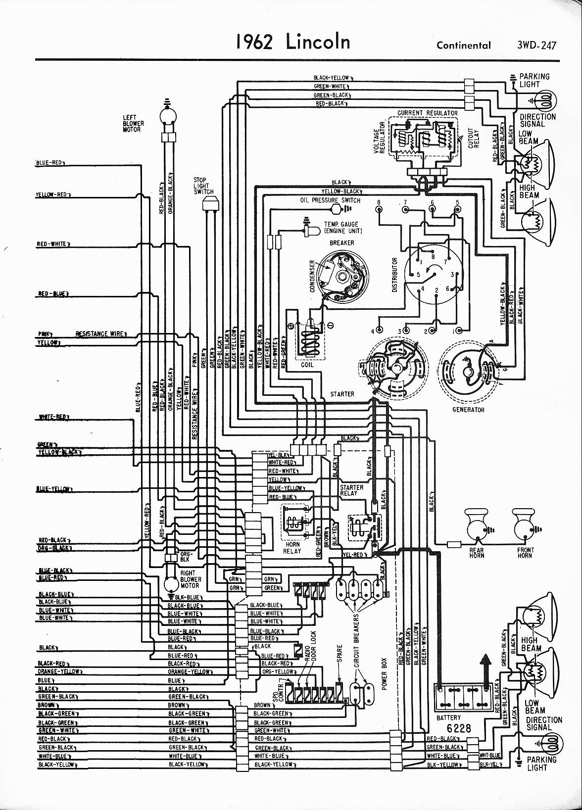 lincoln wiring diagrams 1957 1965 1962 lincoln left half