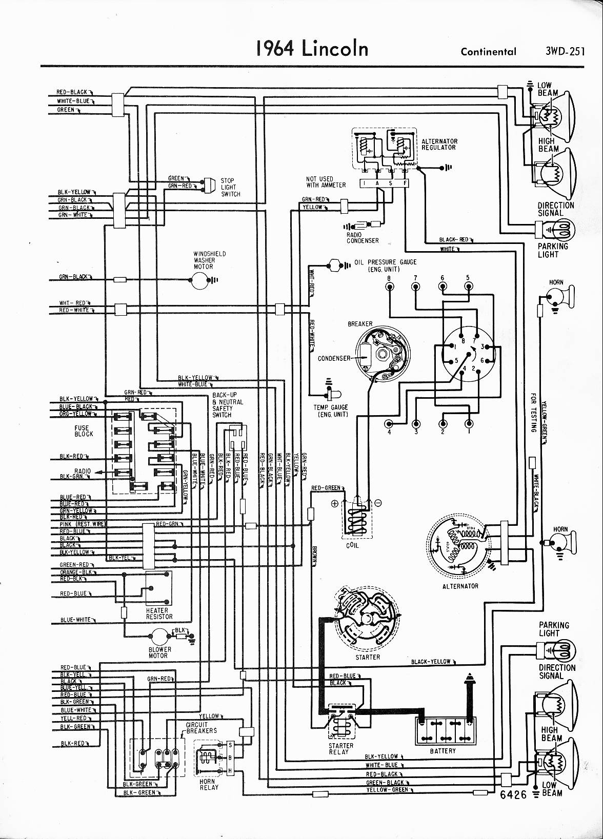 MWireLin_Lin57_z3wd 251z_014 lincoln wiring diagrams 1957 1965 1964 Thunderbird Neutral Safety Switch at bayanpartner.co