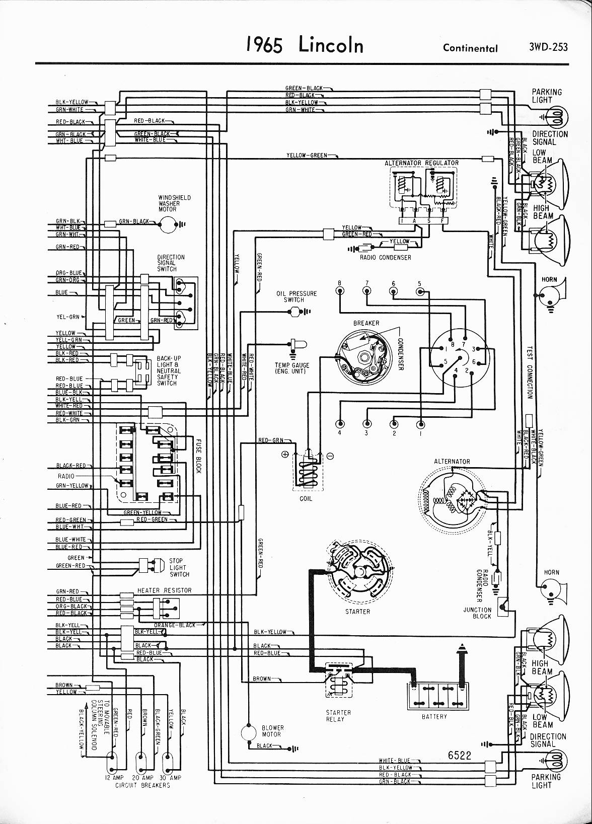 MWireLin_Lin57_z3wd 253z_016 lincoln wiring diagrams 1957 1965 1995 lincoln continental fuse box diagram at fashall.co