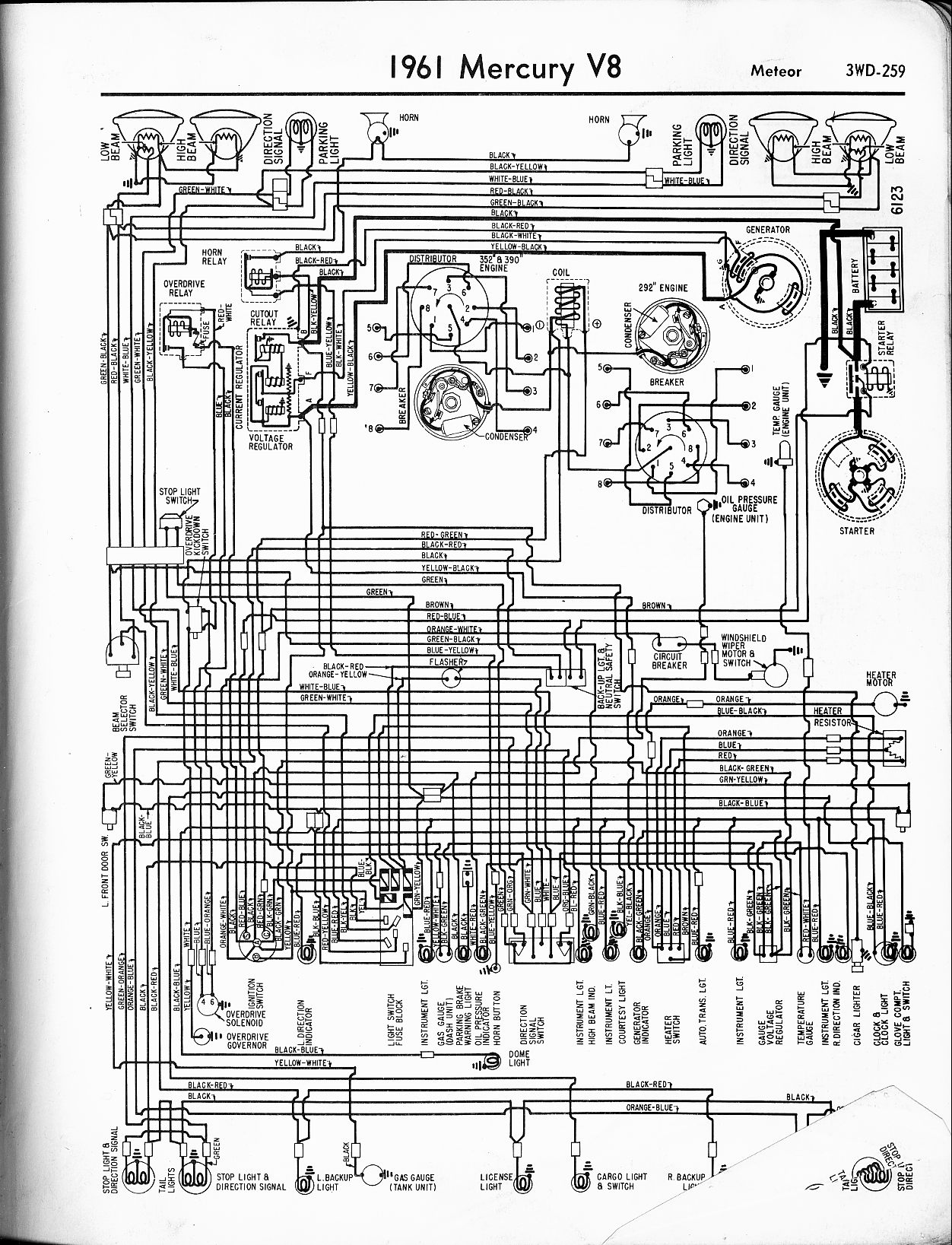 Mercury Wiring Diagrams The Old Car Manual Project Of 1961 6 V8 Meteor