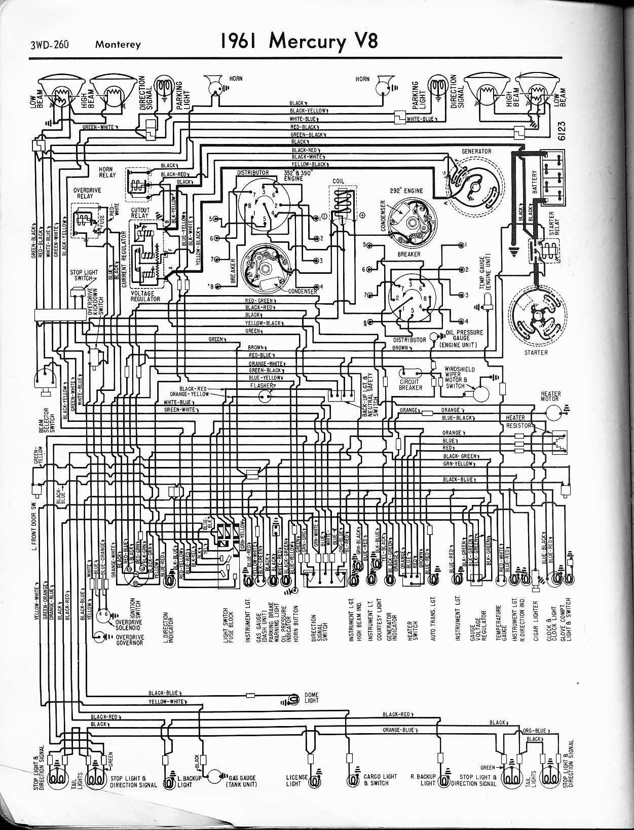 mercury wiring diagrams the old car manual project 1961 v8 monterey