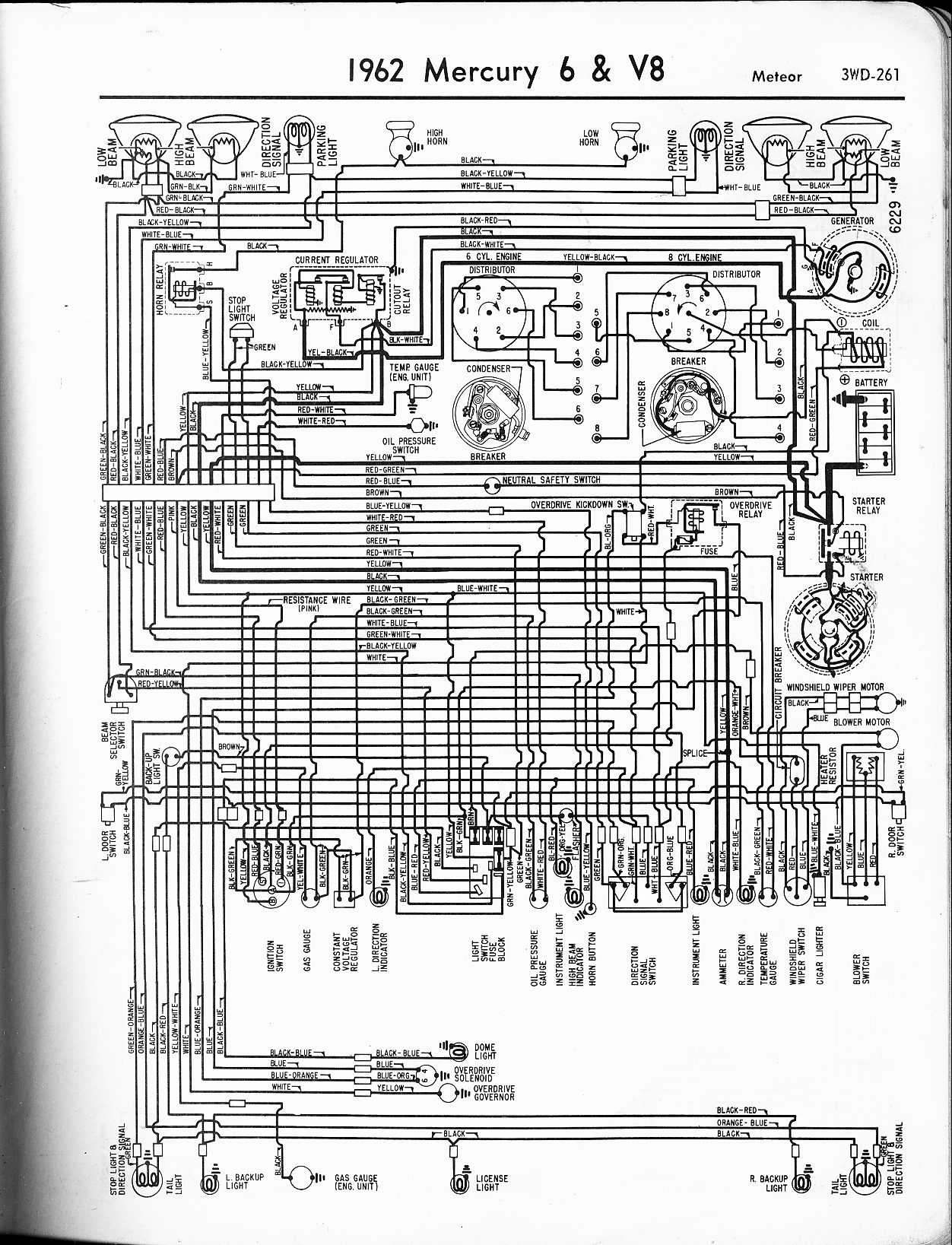 Mercury Wiring Diagrams The Old Car Manual Project Original Diagram Of 1965 Comet 1962 6 V8 Meteor