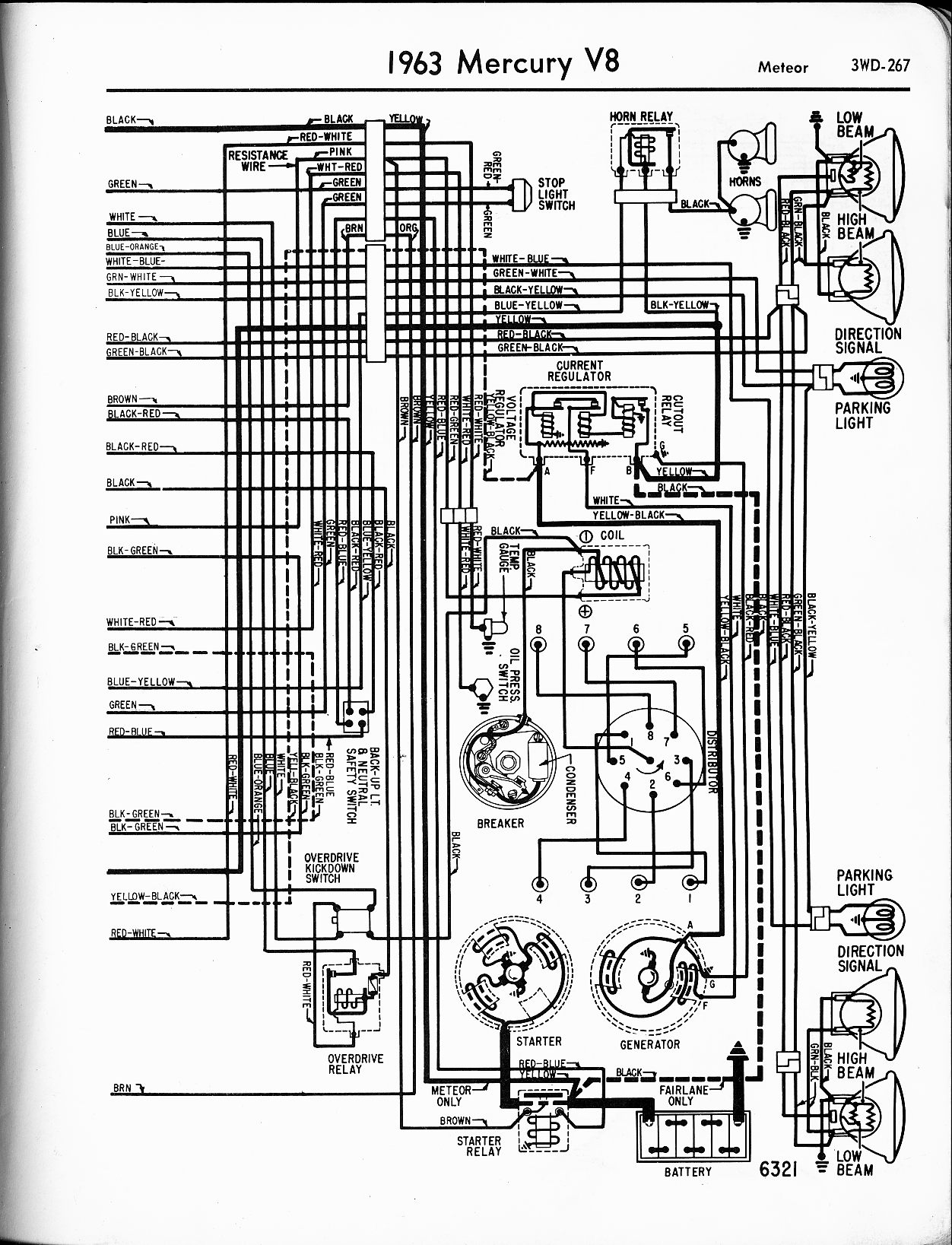 mercury wiring diagrams the old car manual project  1963 v8 meteor right page