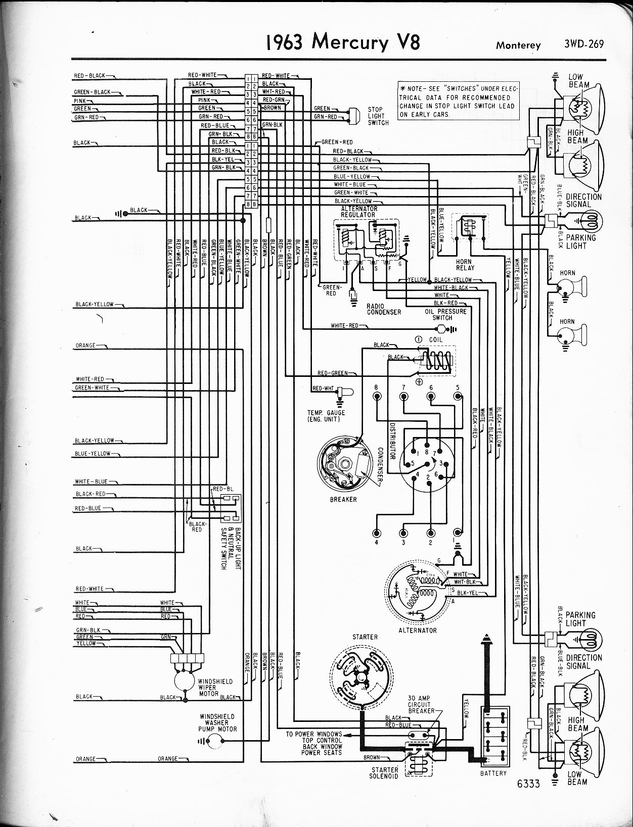 Mercury Wiring Diagrams The Old Car Manual Project 64 Et Diagram 1963 V8 Monterey Right Page