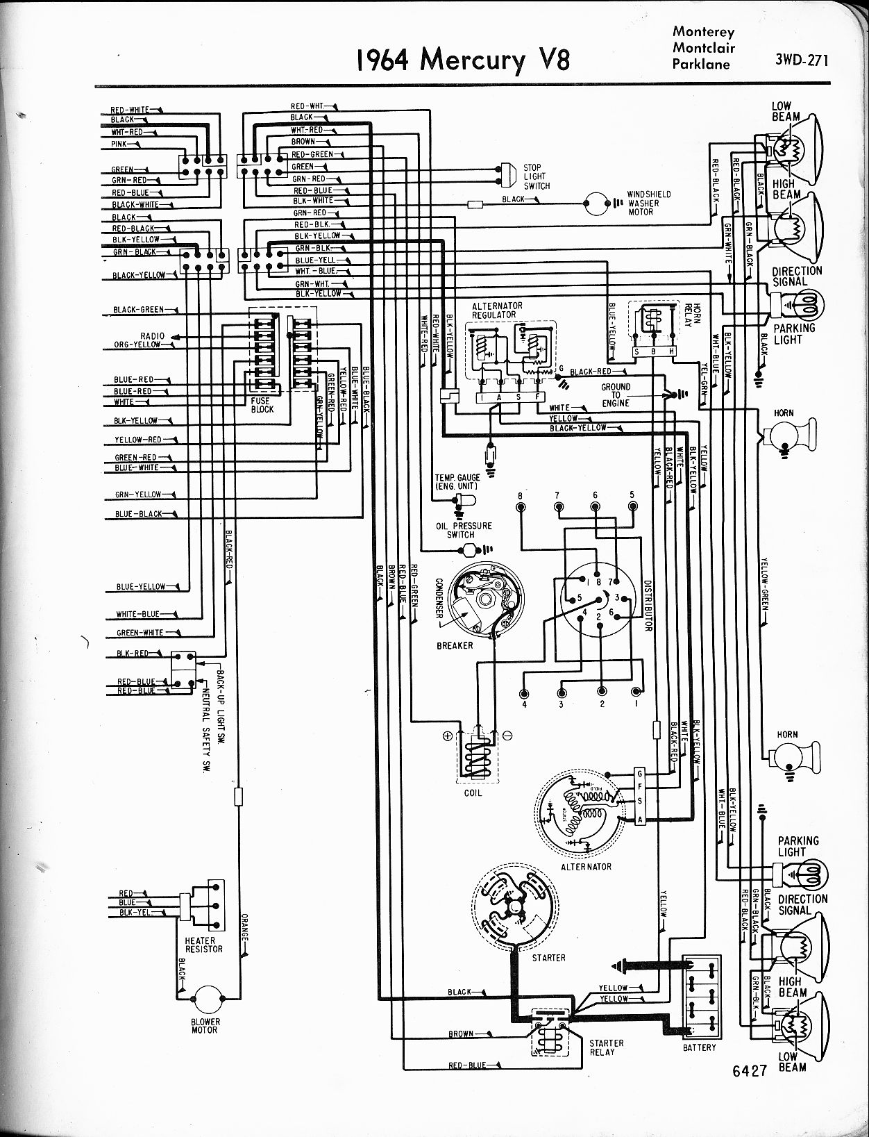 Mercury Wiring Diagrams The Old Car Manual Project 1967 Chevy C10 Fuse Box Diagram Schematic 1964 V8 Monterey Montclair Parklane Right Page