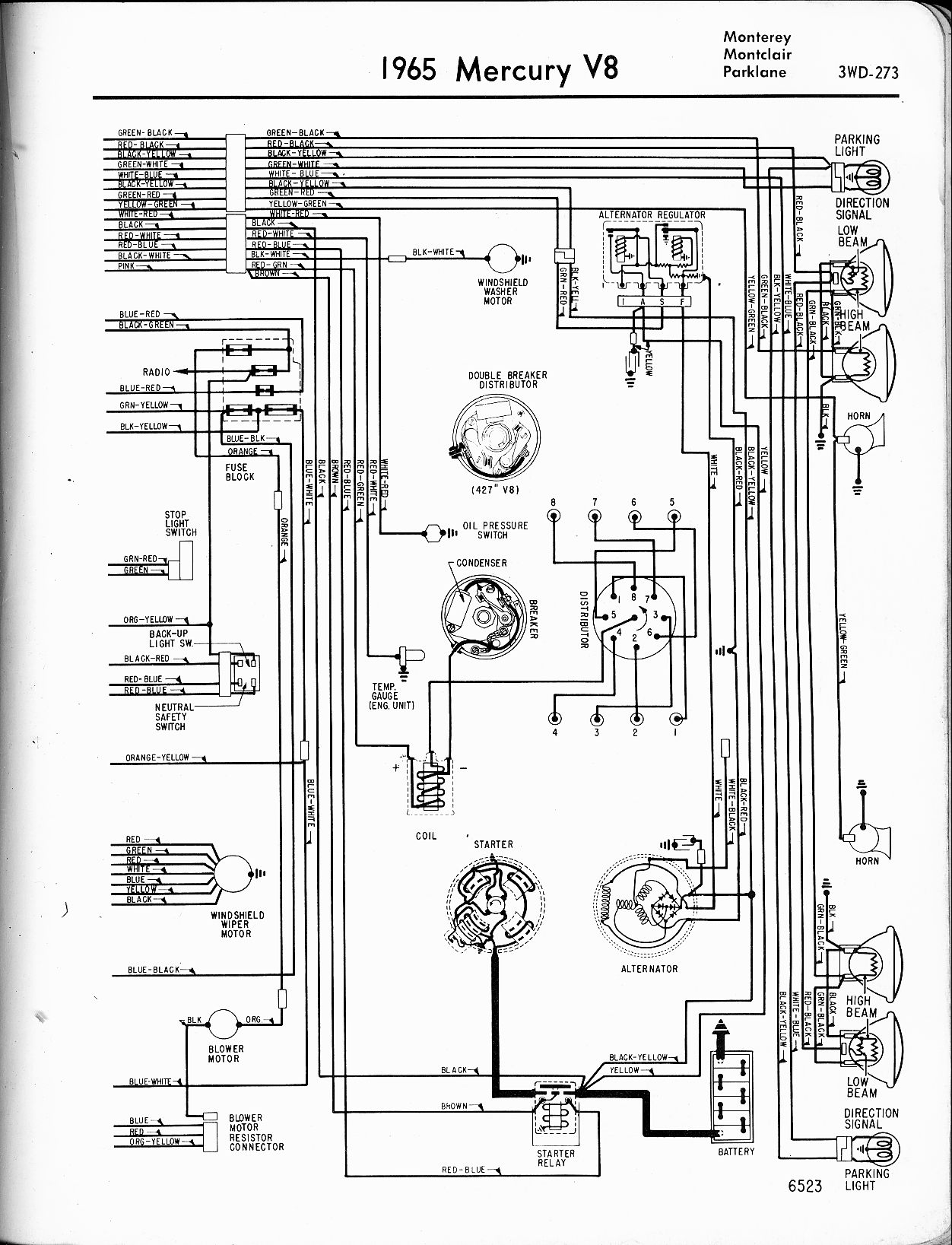 Mercury Wiring Diagrams The Old Car Manual Project 6 Volt Generator Diagram 1950 1965 V8 Monterey Montclair Parklane Left Page