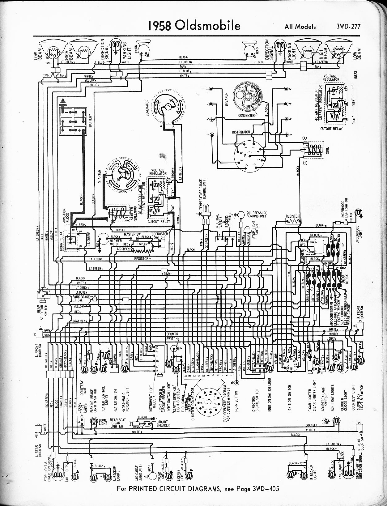 Oldsmobile wiring diagrams. 1957 · 1958