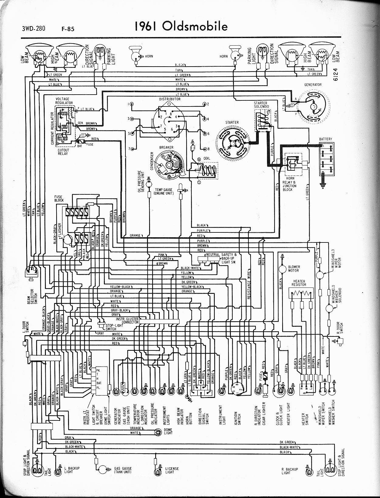 oldsmobile wiring diagrams the old car manual project 1961 f 85